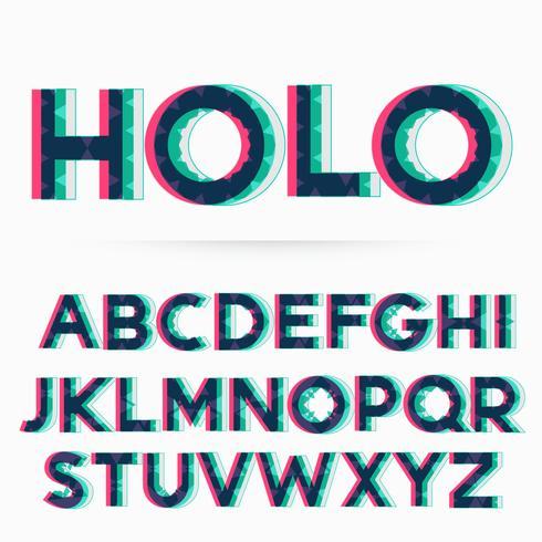 Download holographic alphabet font vector illustration - Download ...