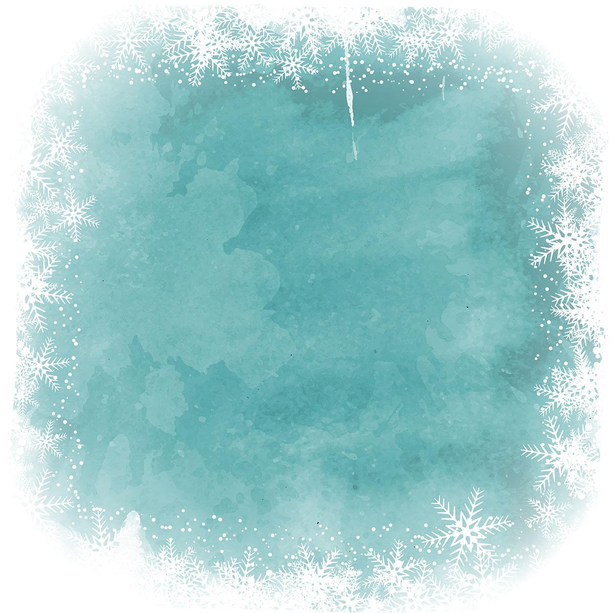 Christmas Snowflake Border On Watercolor Background
