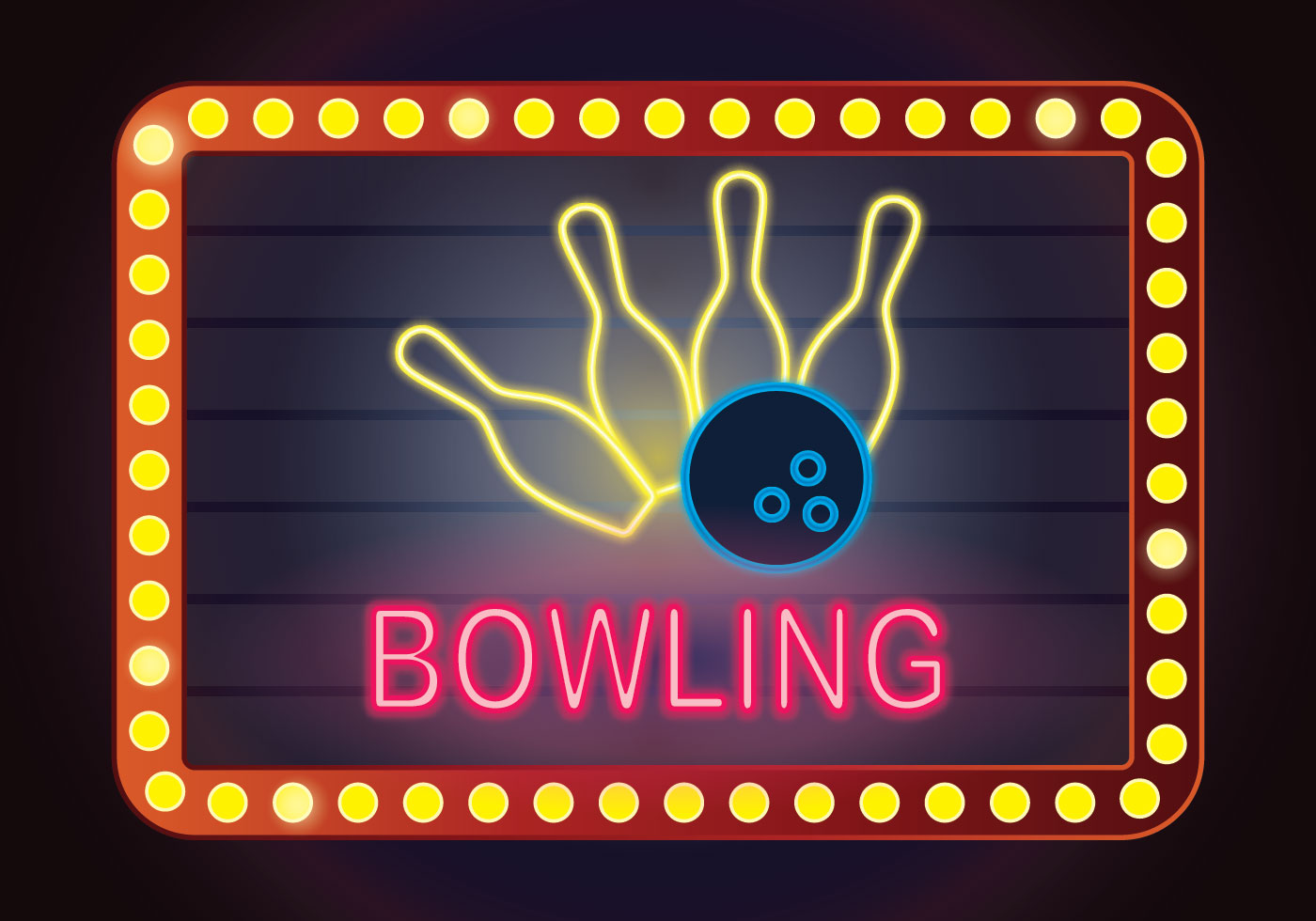 Neon Bowling Illustration Download Free Vector Art Stock Graphics Amp Images