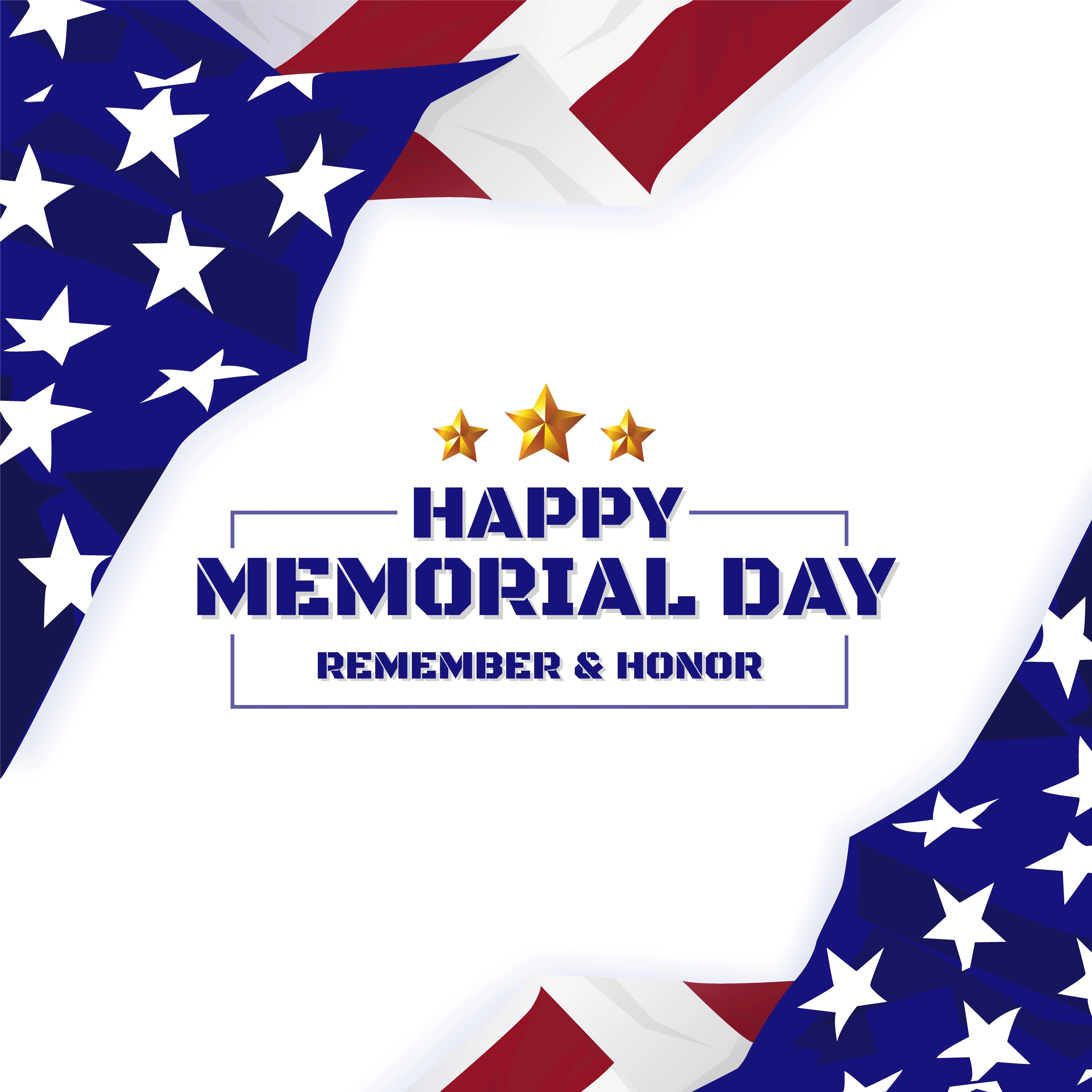 Happy Memorial Day Background Usa Flag Banner With Copy