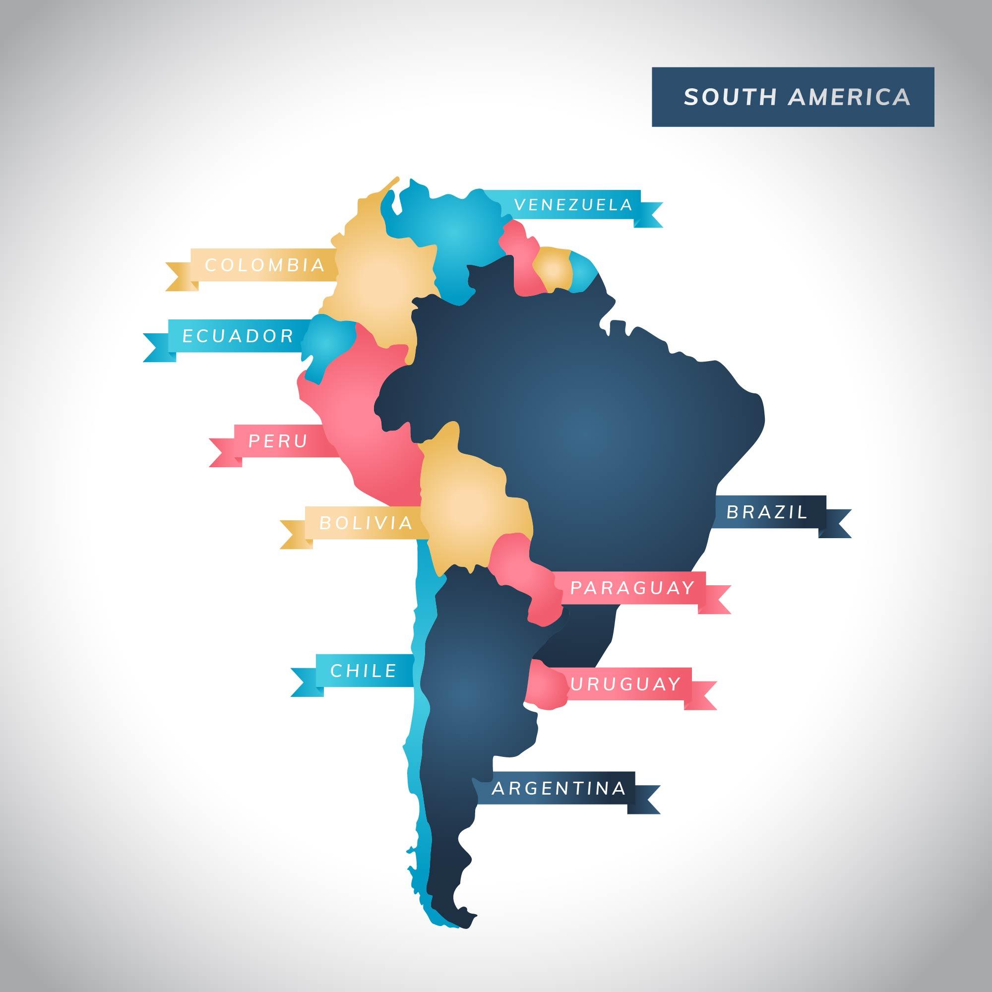 Modern South America Map