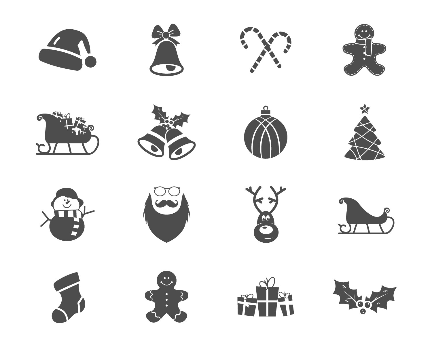 Christmas Happy New Year And Winter Icons Collection Set