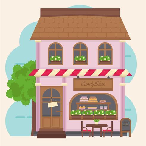 Vektor Färgglada Candy Shop Building - Ladda ner gratis vektorgrafik, arkivgrafik och bilder