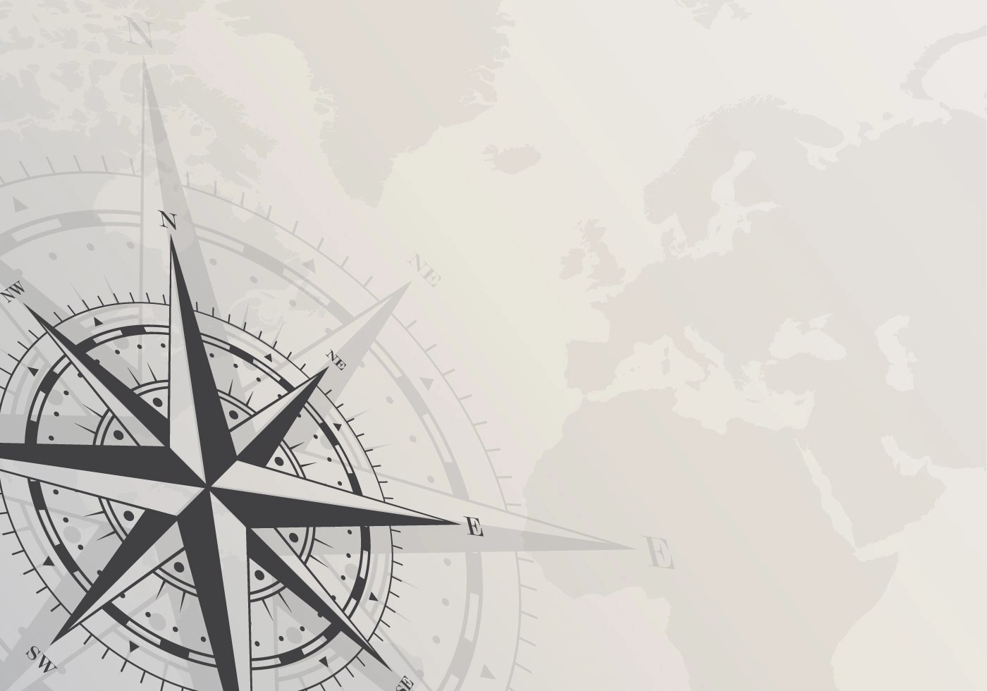 Compass On White Background Blank Page Template With