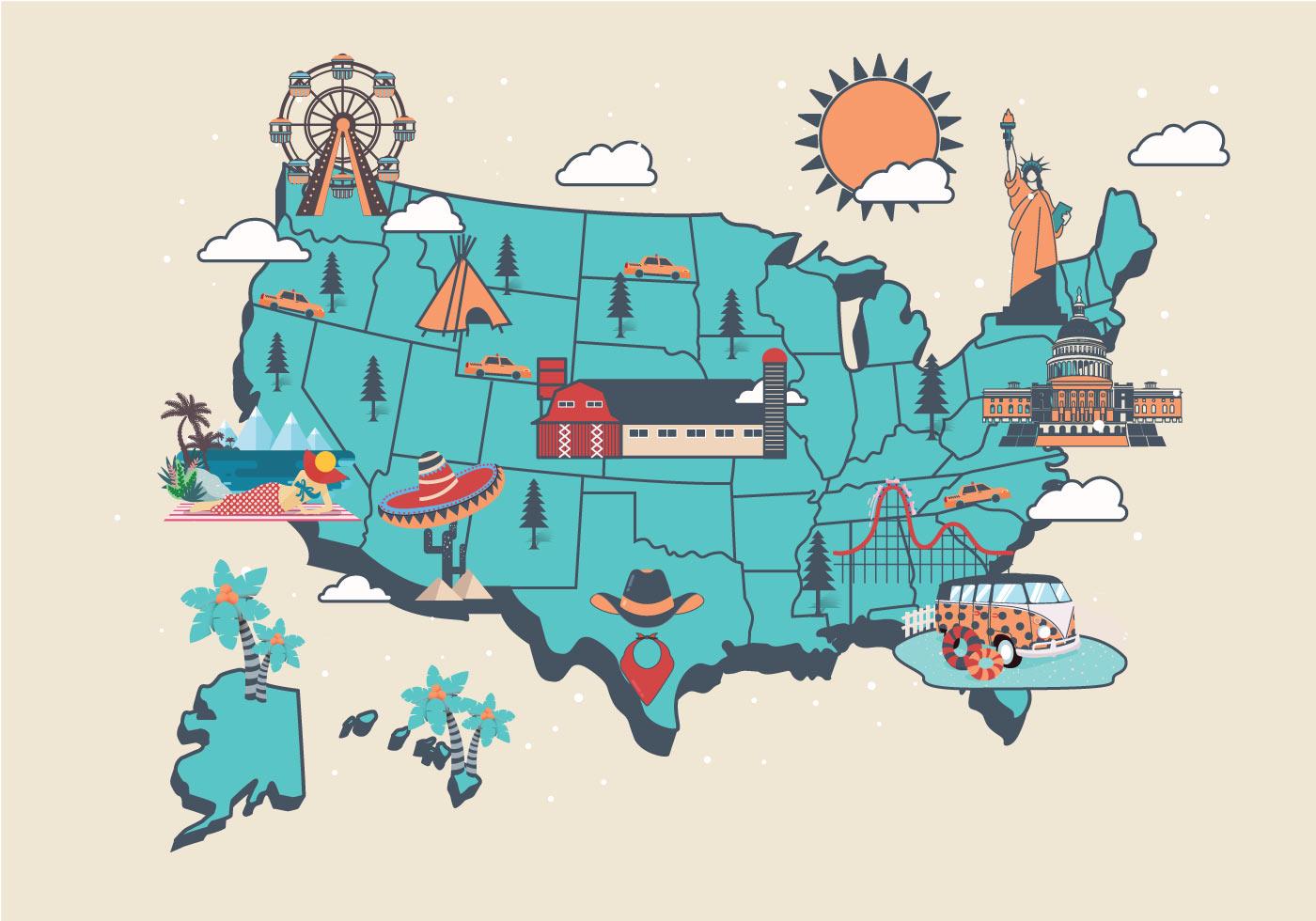 United States Landmark Map Vol2 Vector