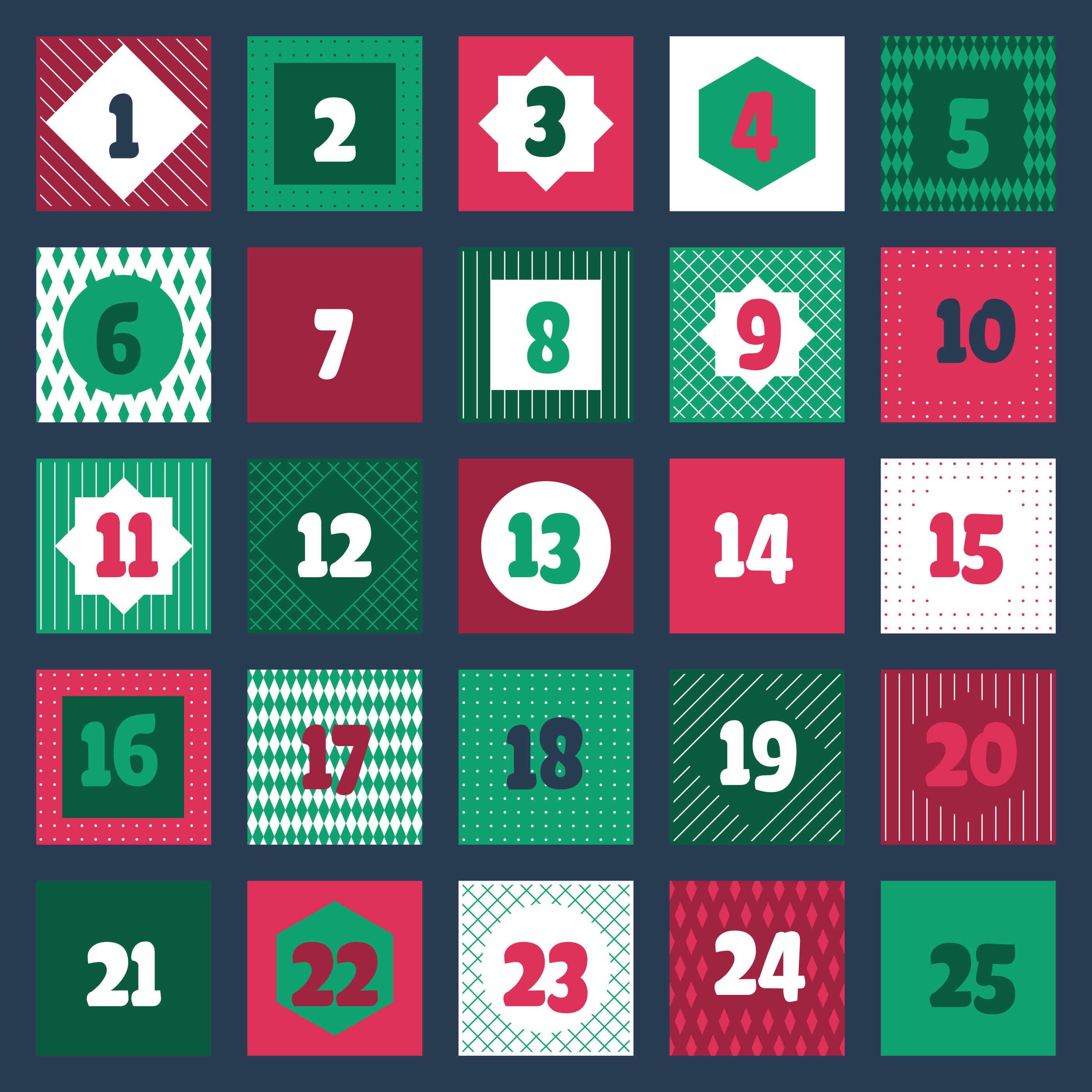 Christmas Advent Calendar Printable Tags Collection