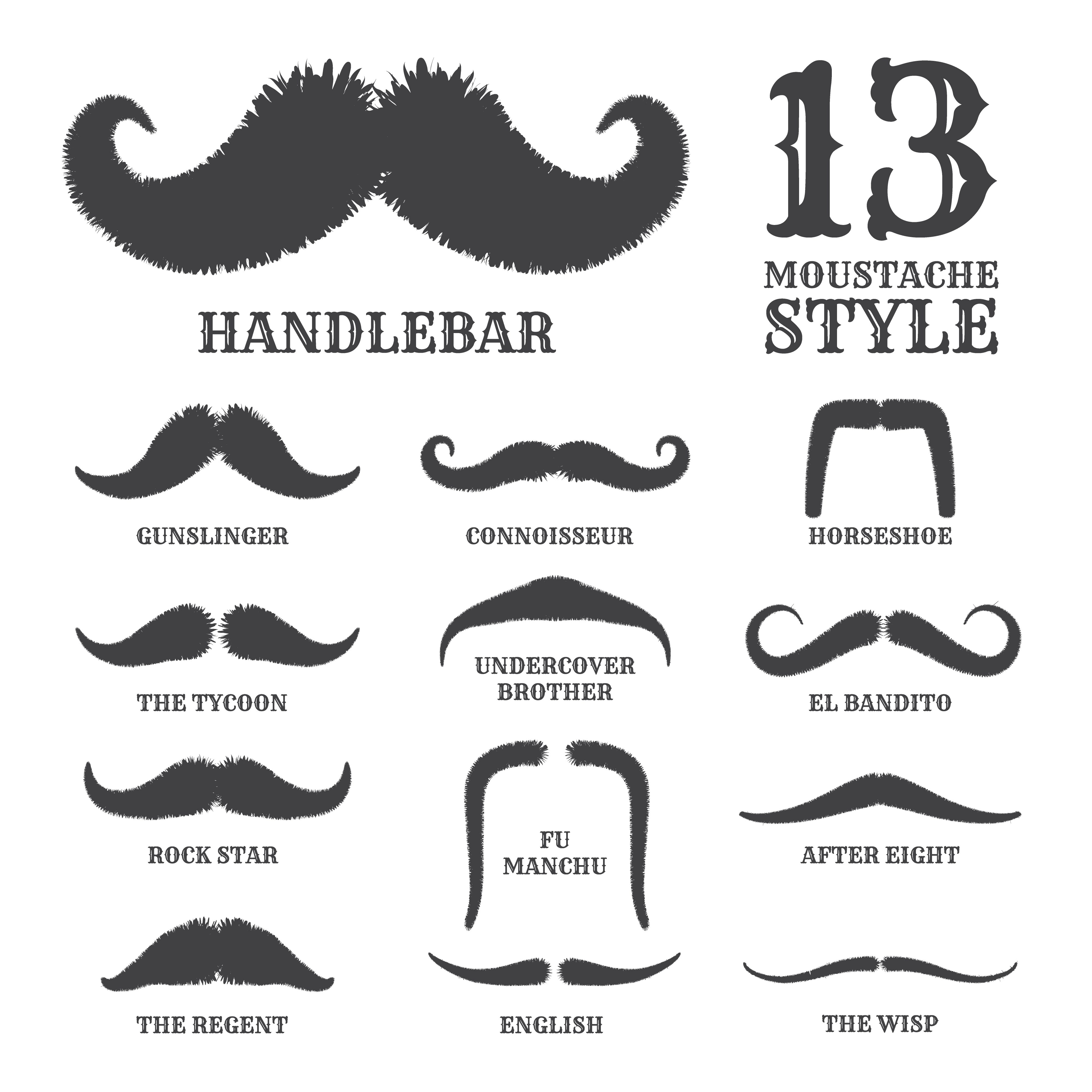 Isolated Silhouette Moustache Collection With Name Of