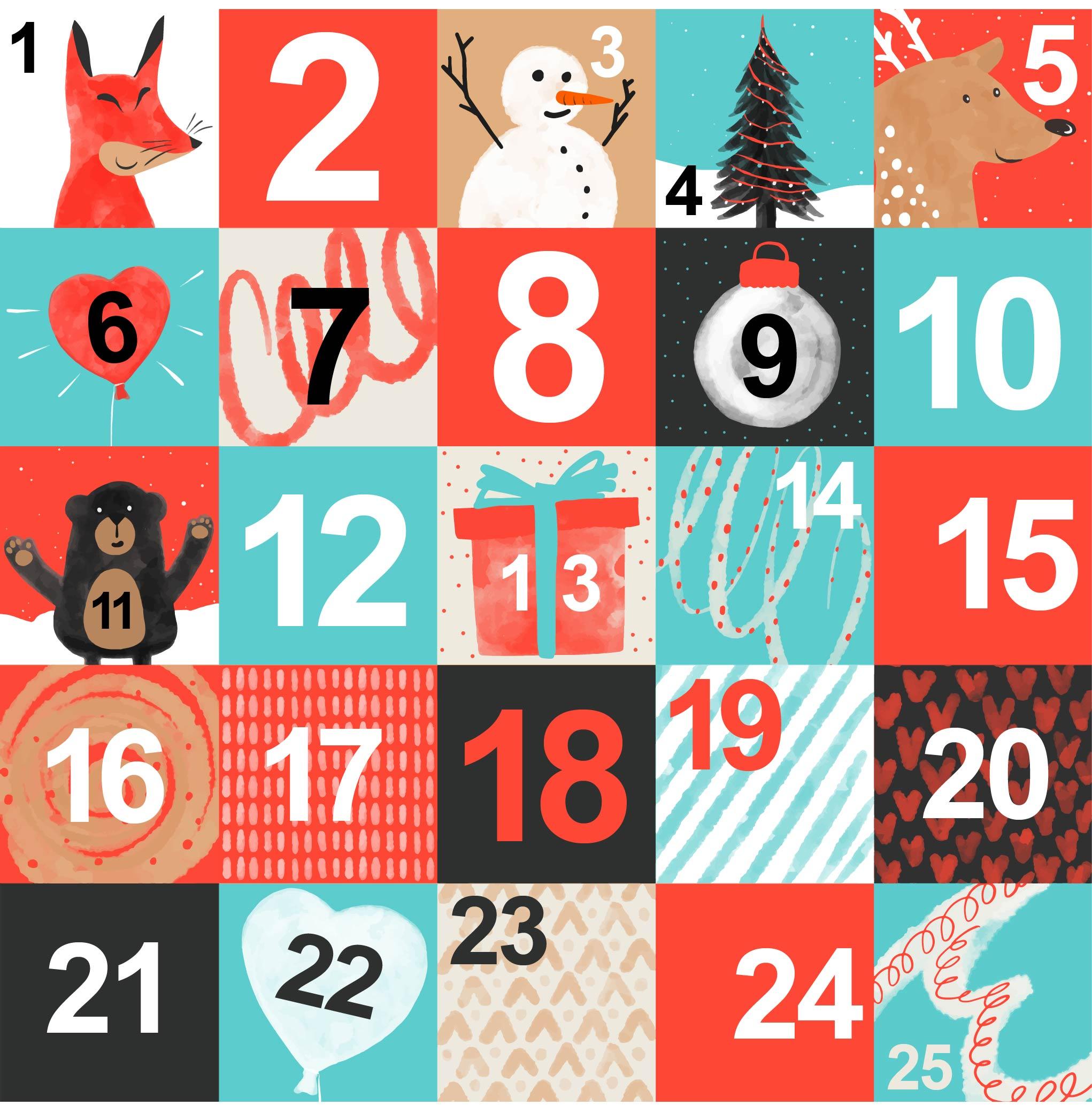 Advent Calendar Printable Vector Design