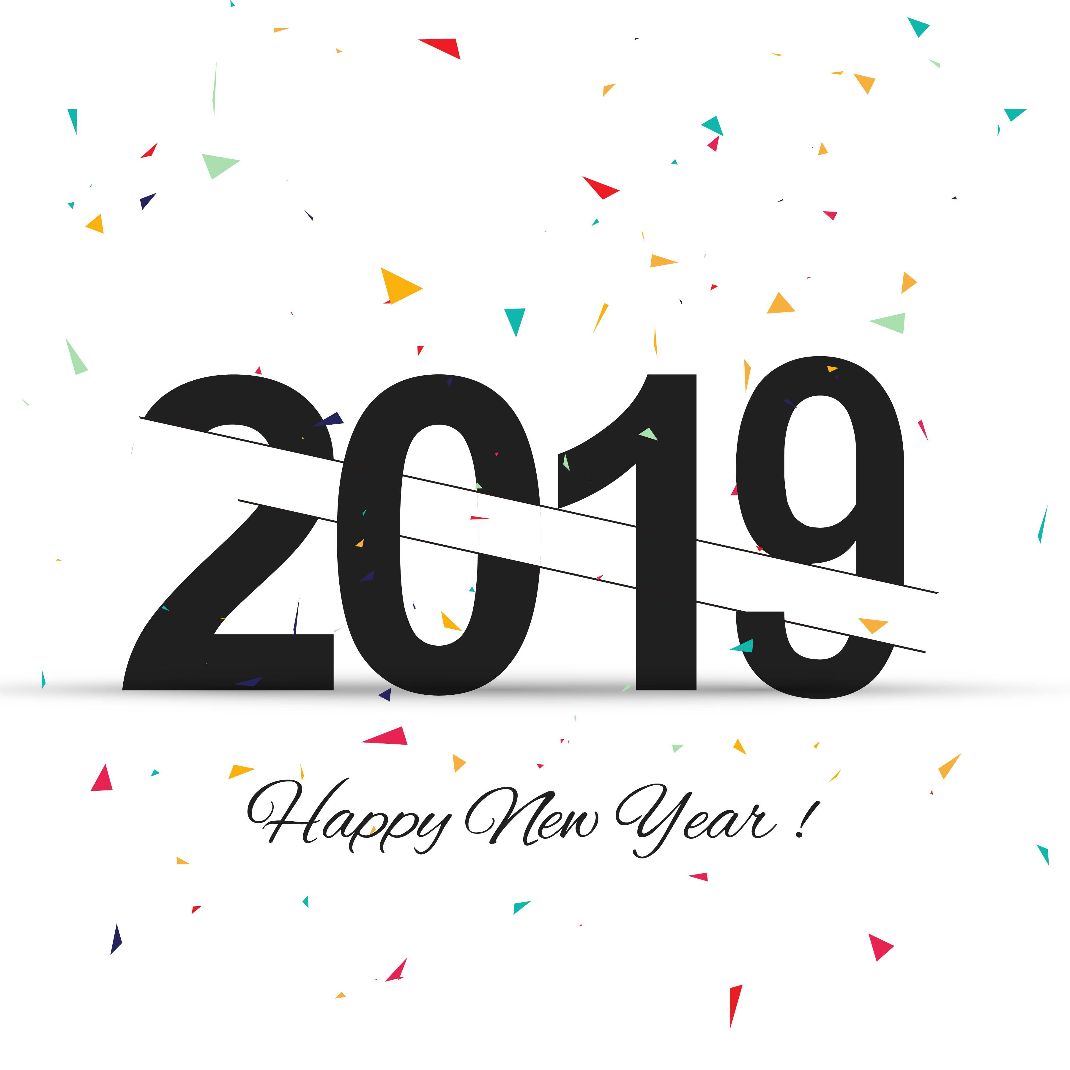 Elegant Happy New Year Colorful Card Design