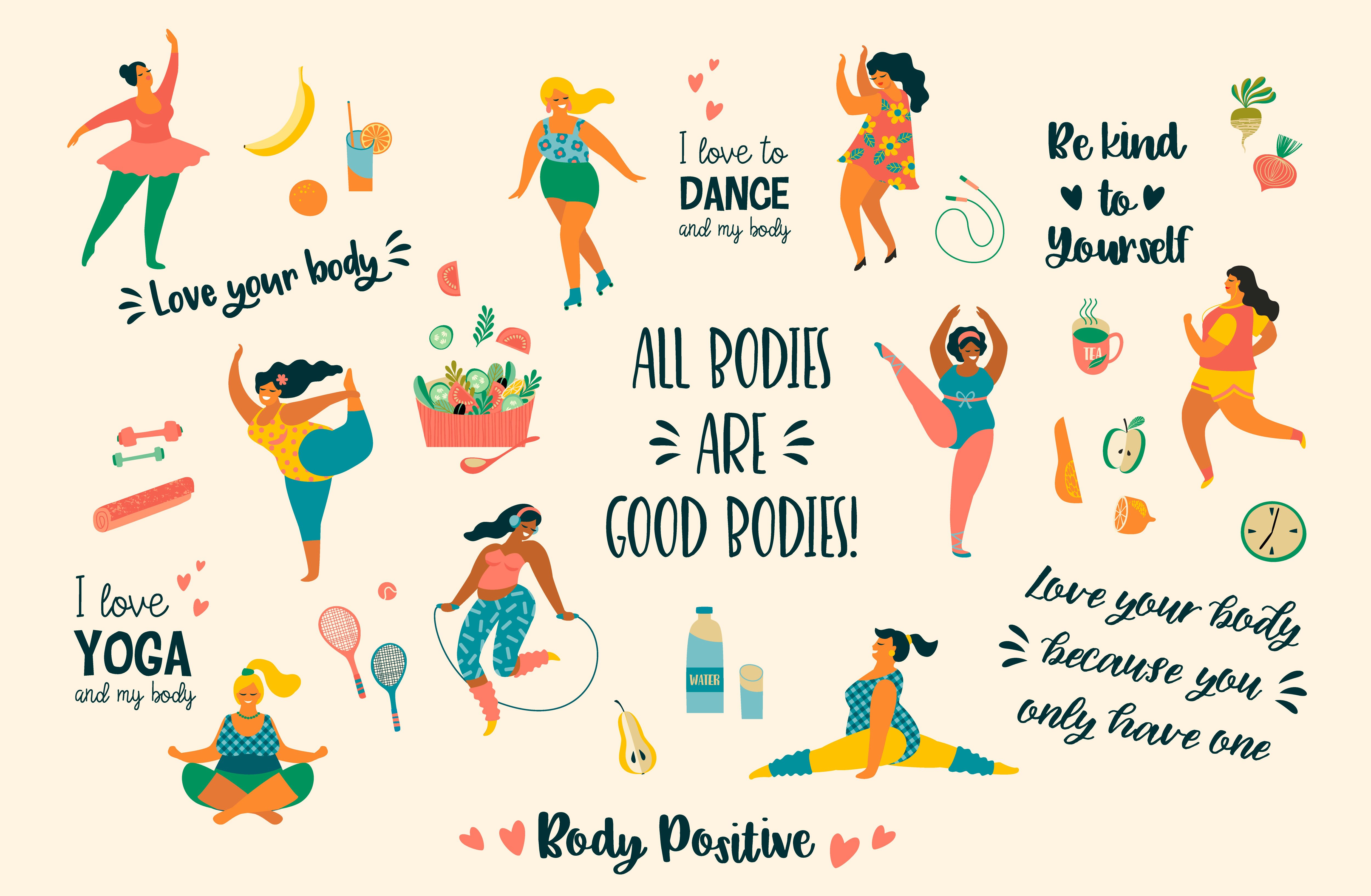 Body Positive Happy Plus Size Girls And Active Healthy