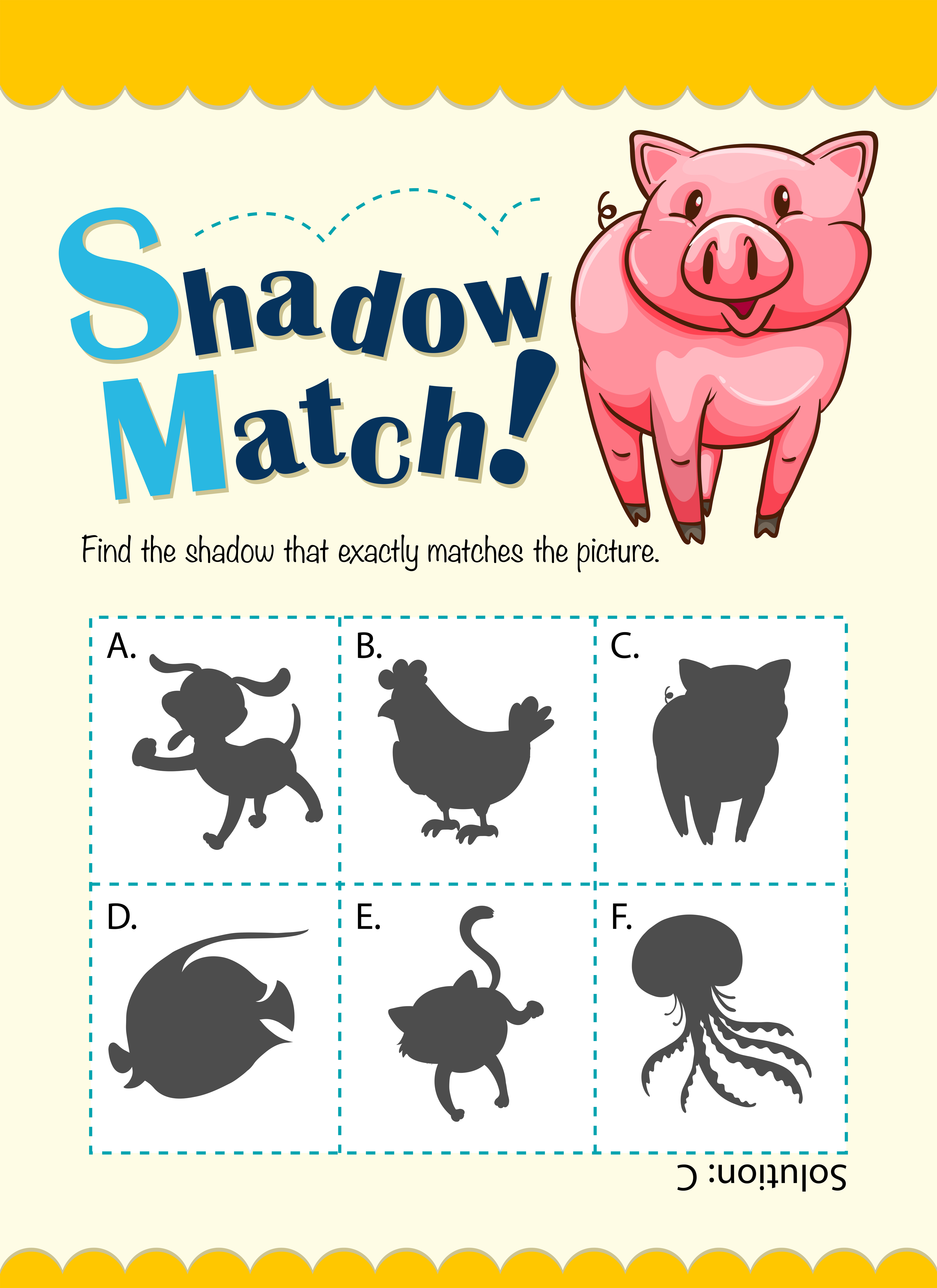 Game Template With Shadow Matching Pig