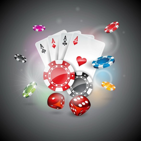 Casino theme with color playing chips and poker cards on shiny background.  305065 Vector Art at Vecteezy