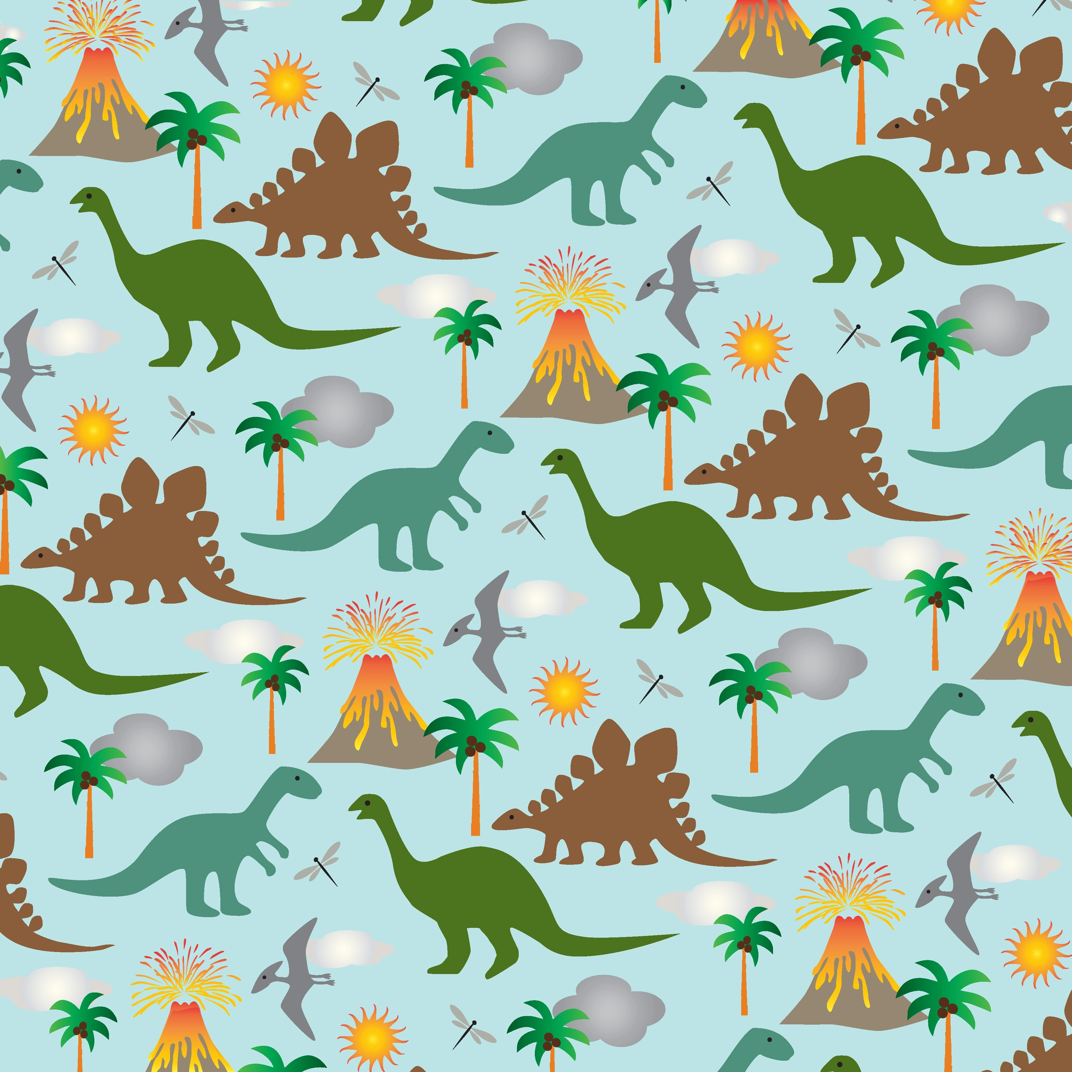 Dinosaur Scene Background Pattern