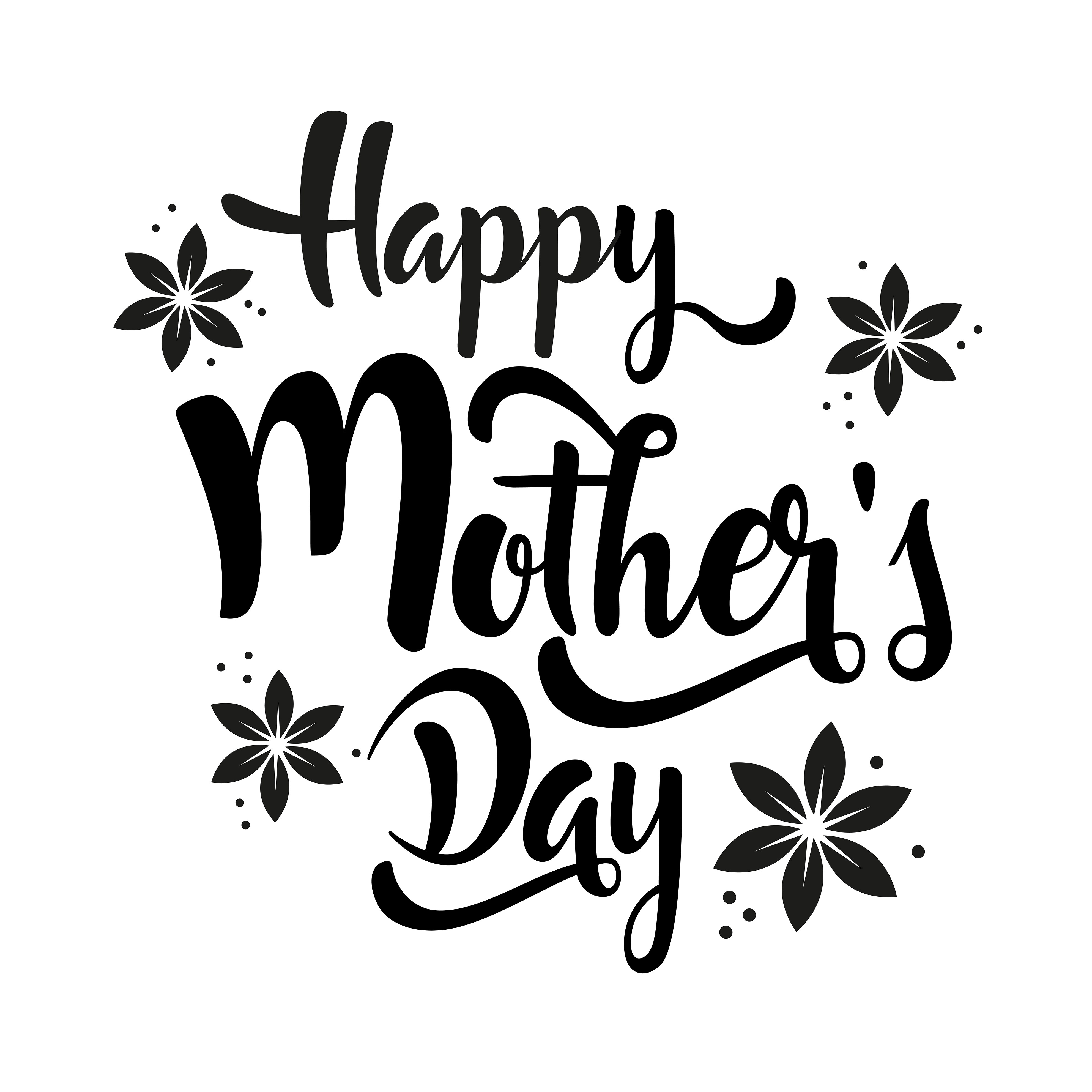 Happy Mother S Day Lettering Whit Flowers
