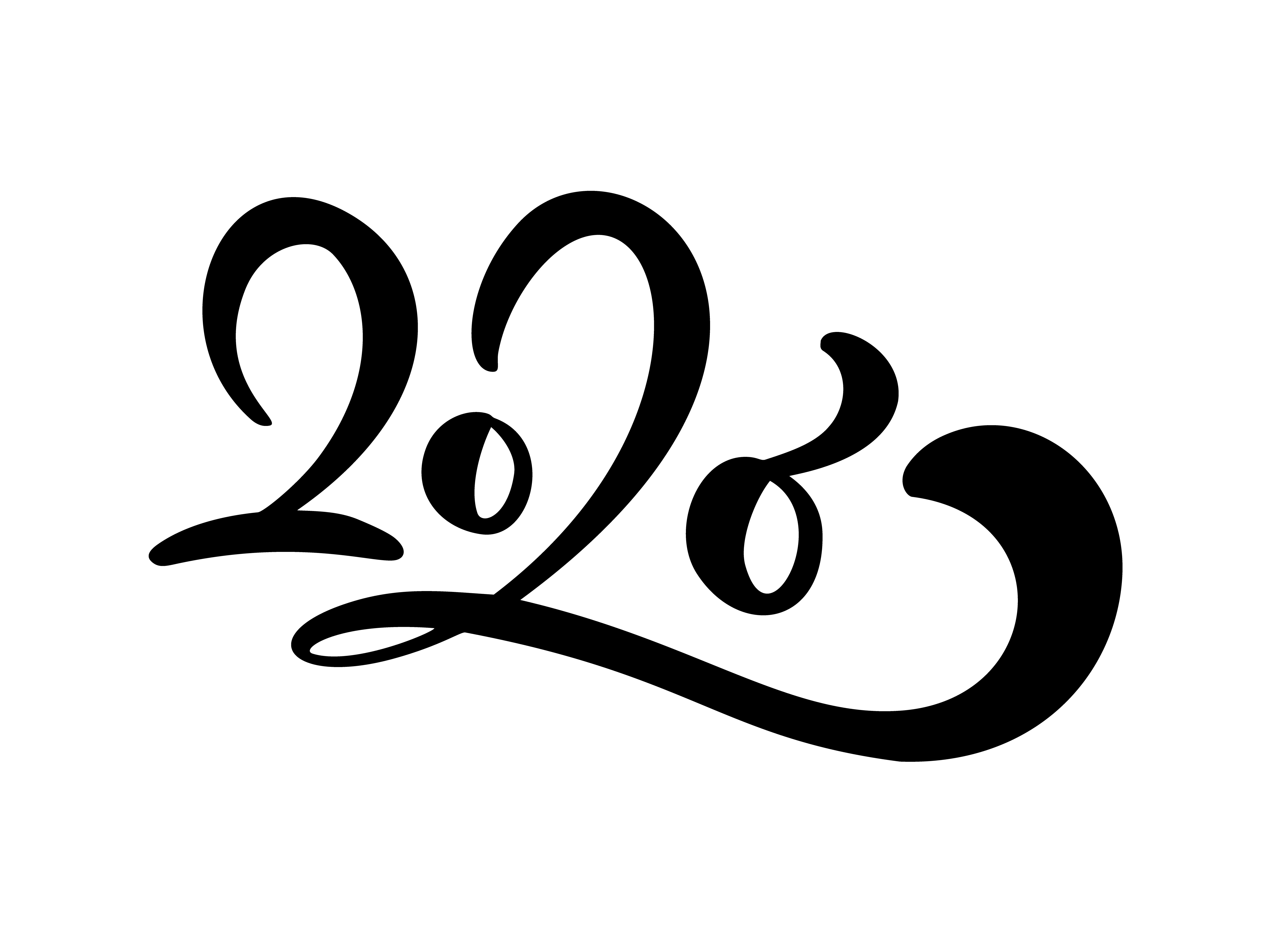 Black Number Text Hand Drawn Vector Lettering