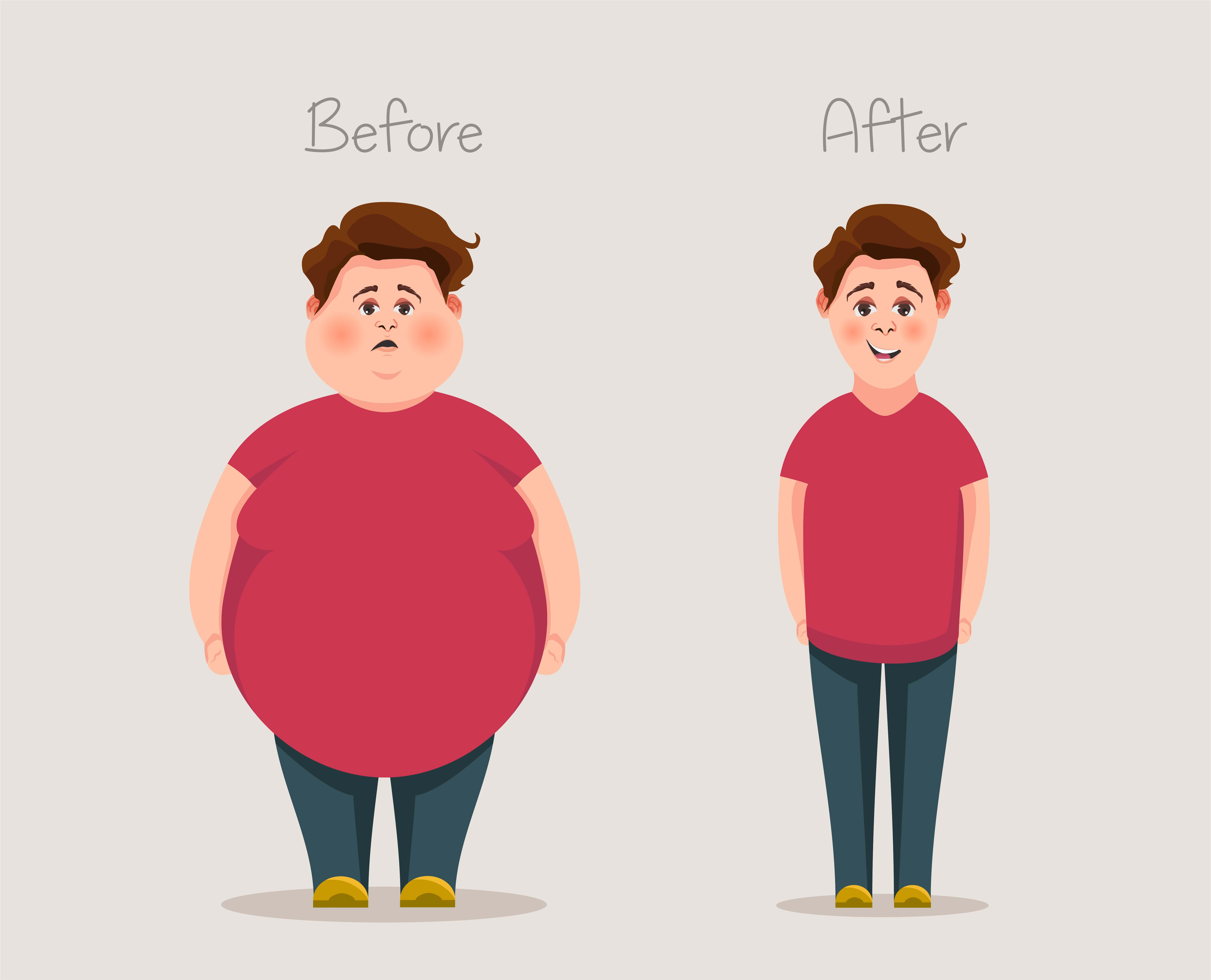 Fat And Skinny Guys Concept Of Weight Before And After