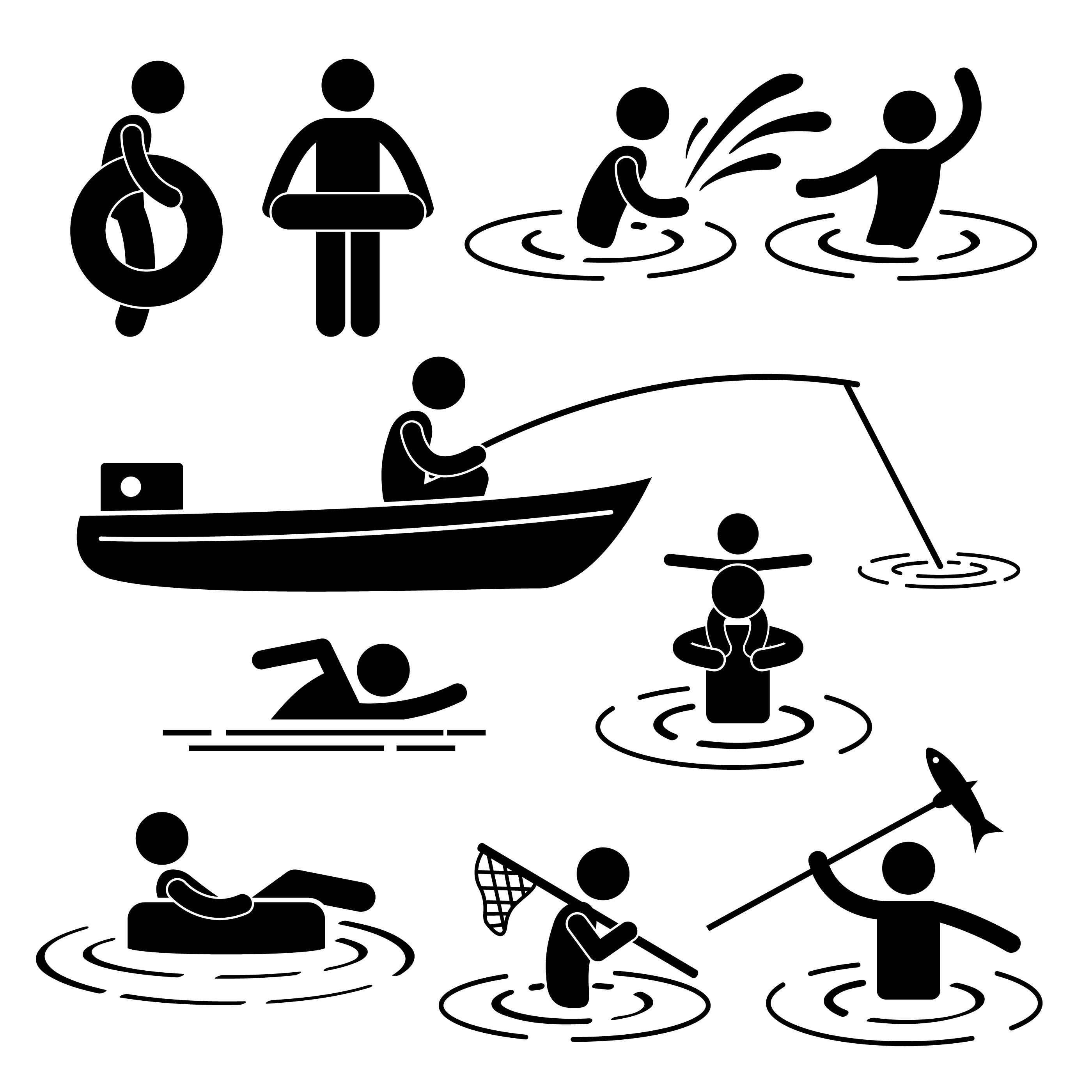 Children Leisure Swimming Fishing Playing At River Water