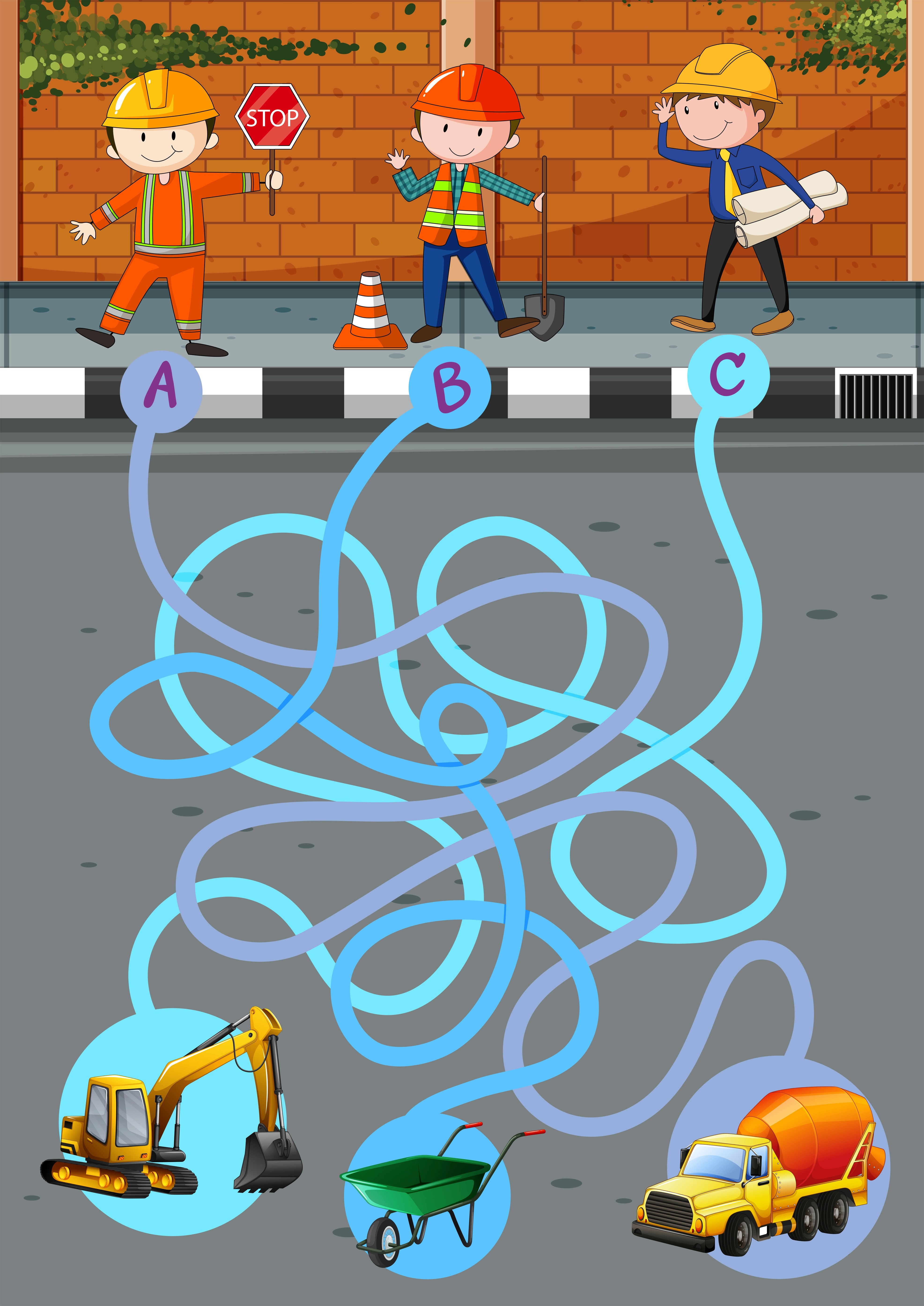 Game Template With Construction Workers And Tools