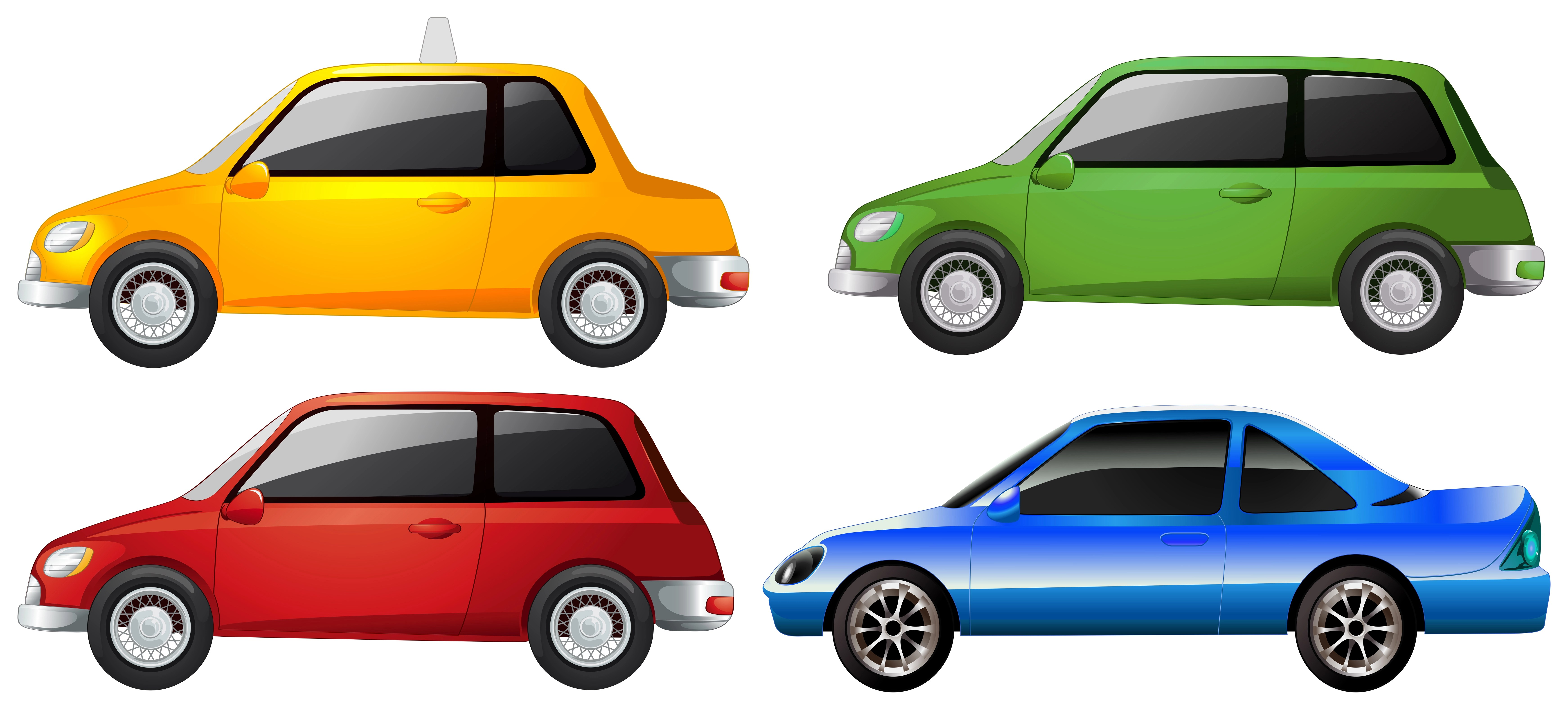The Yellow Green Red And Blue Car