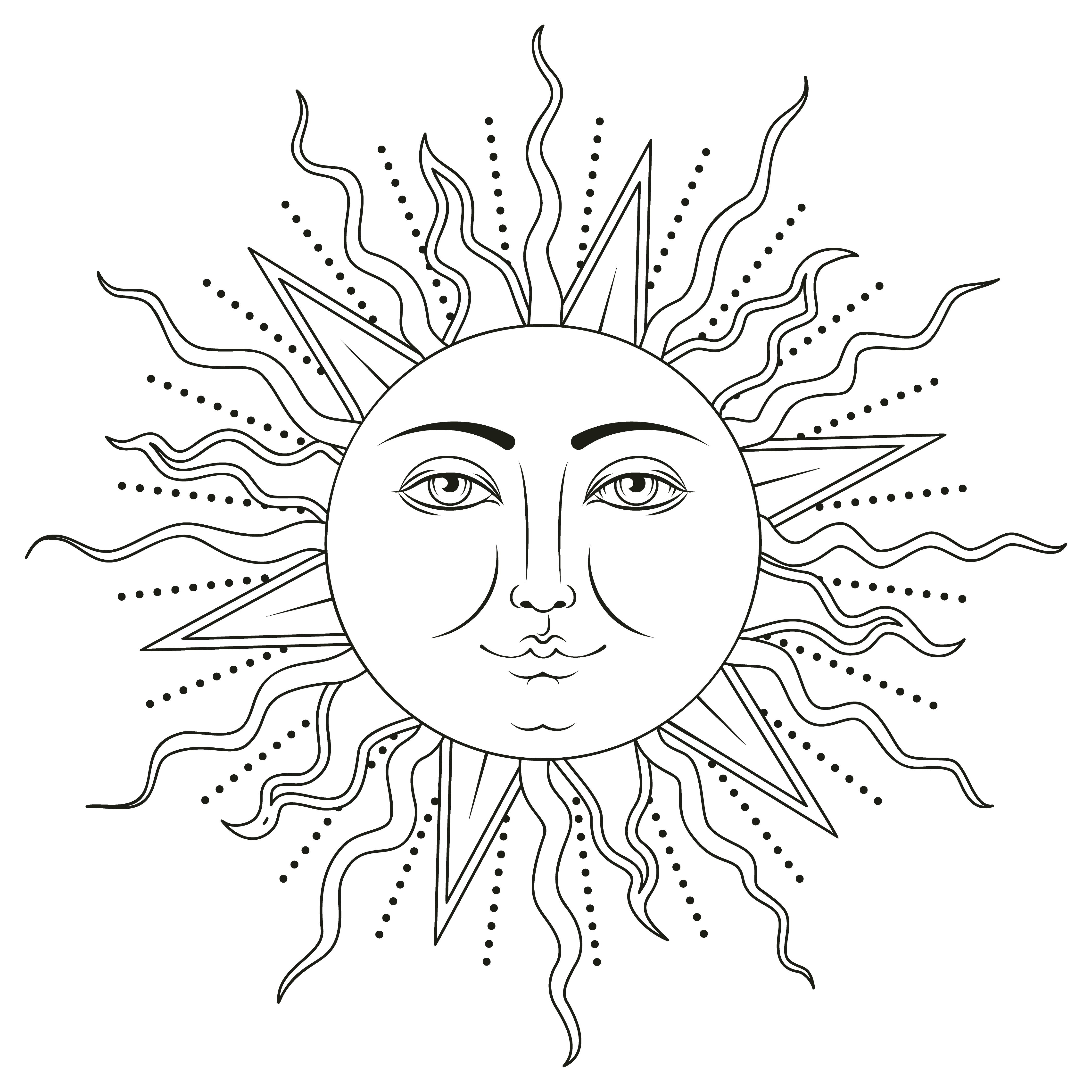 Sun With Human Face Symbol Vector Illustration