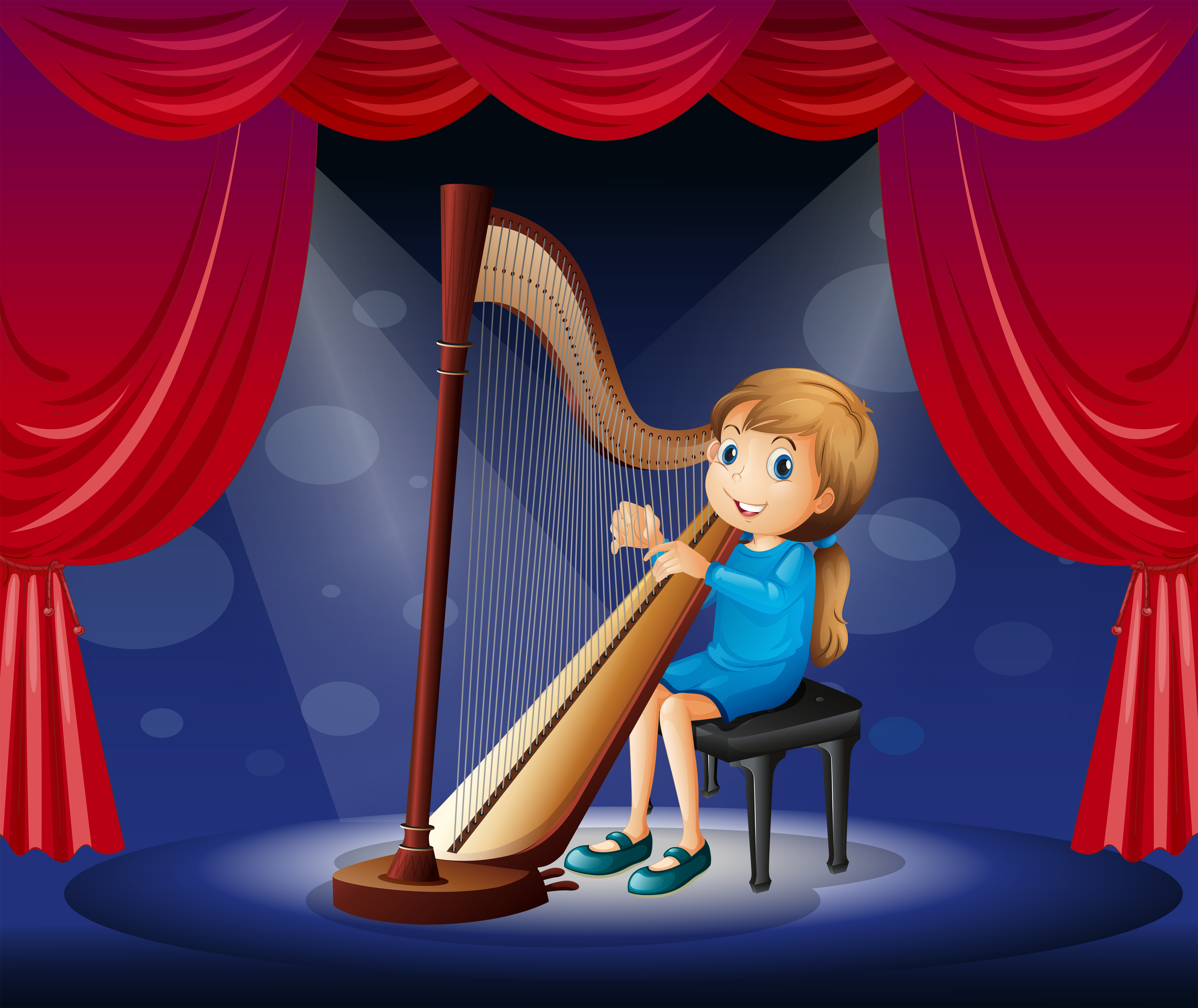 Little Girl Playing Harp On Stage Download Free Vectors