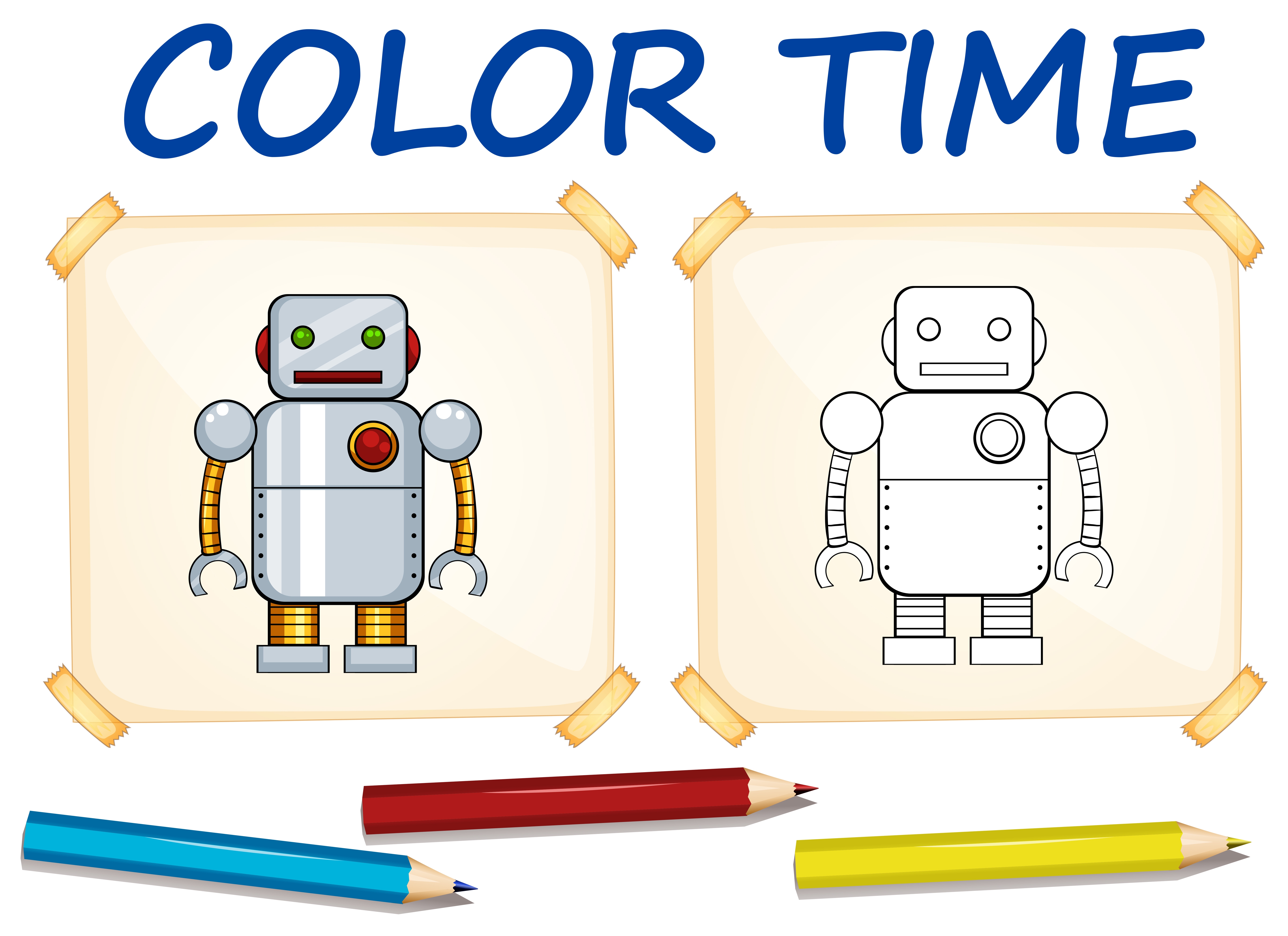 Coloring Template With Toy Robot