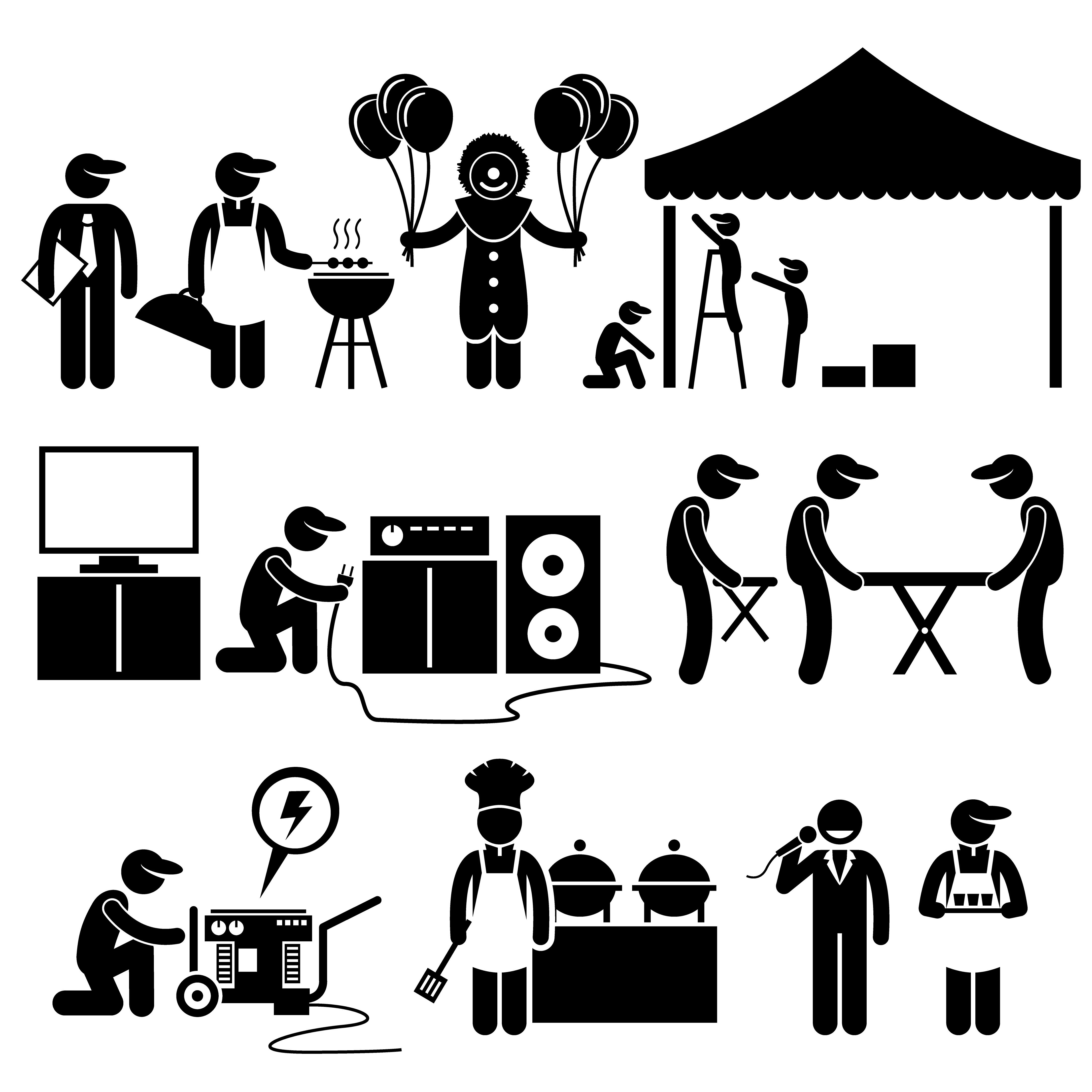 Celebration Party Festival Event Services Stick Figure