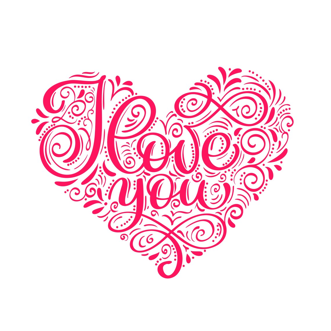 Download I love you text in heart. Valentines day calligraphy ...
