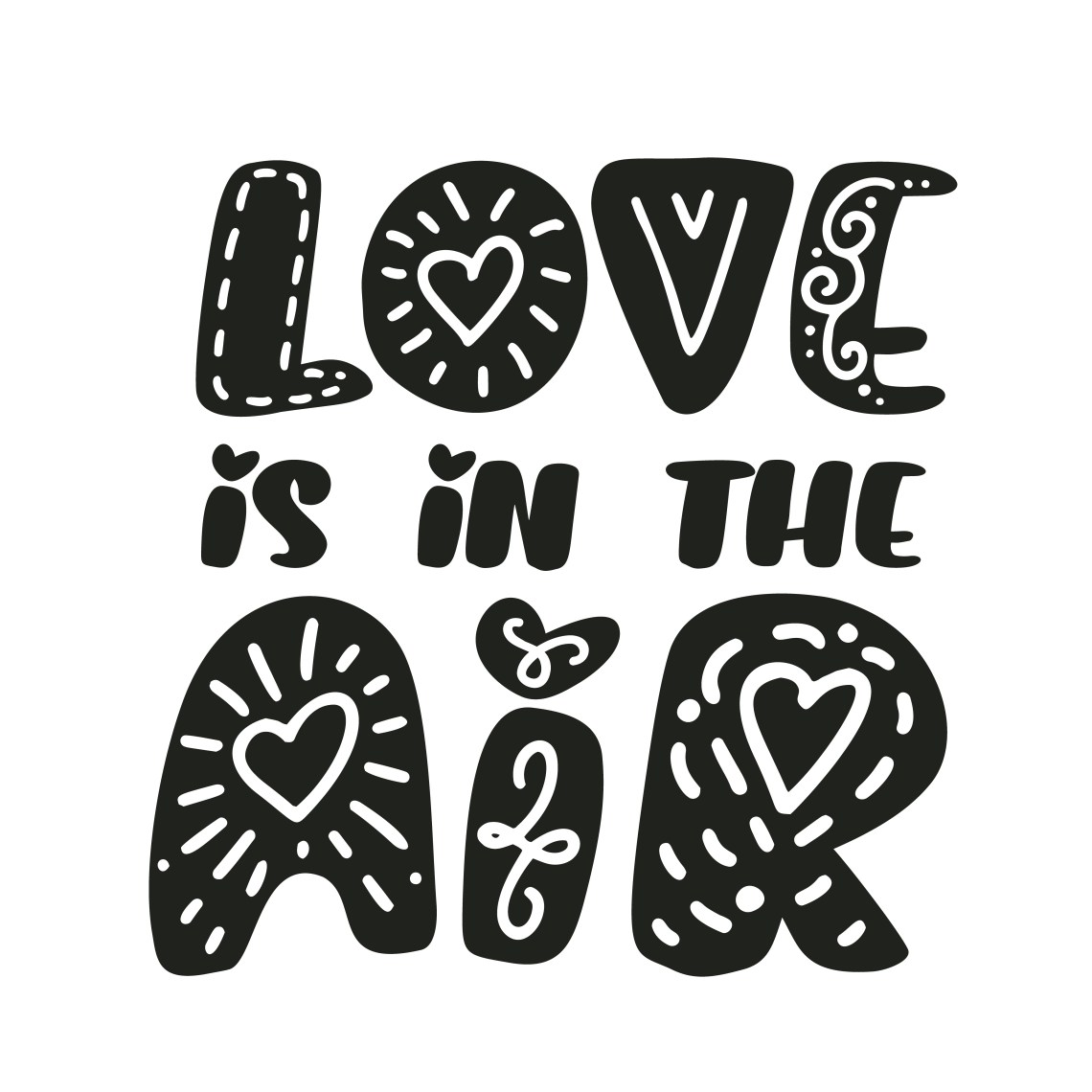 Download Love is in the air text Vector Valentines Day text with ...