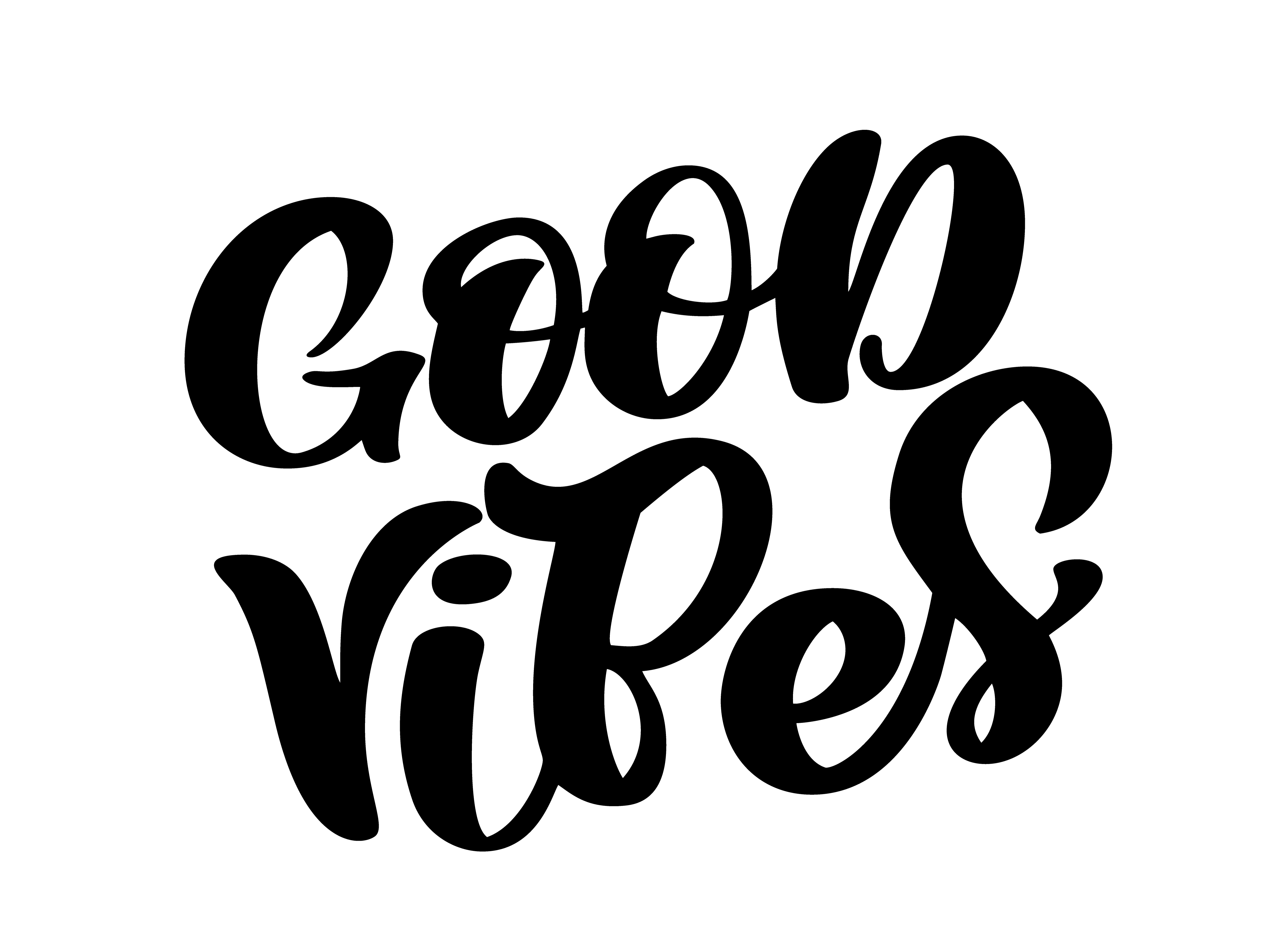 Good Vibes Hand Lettering Quote Card Handmade Vector