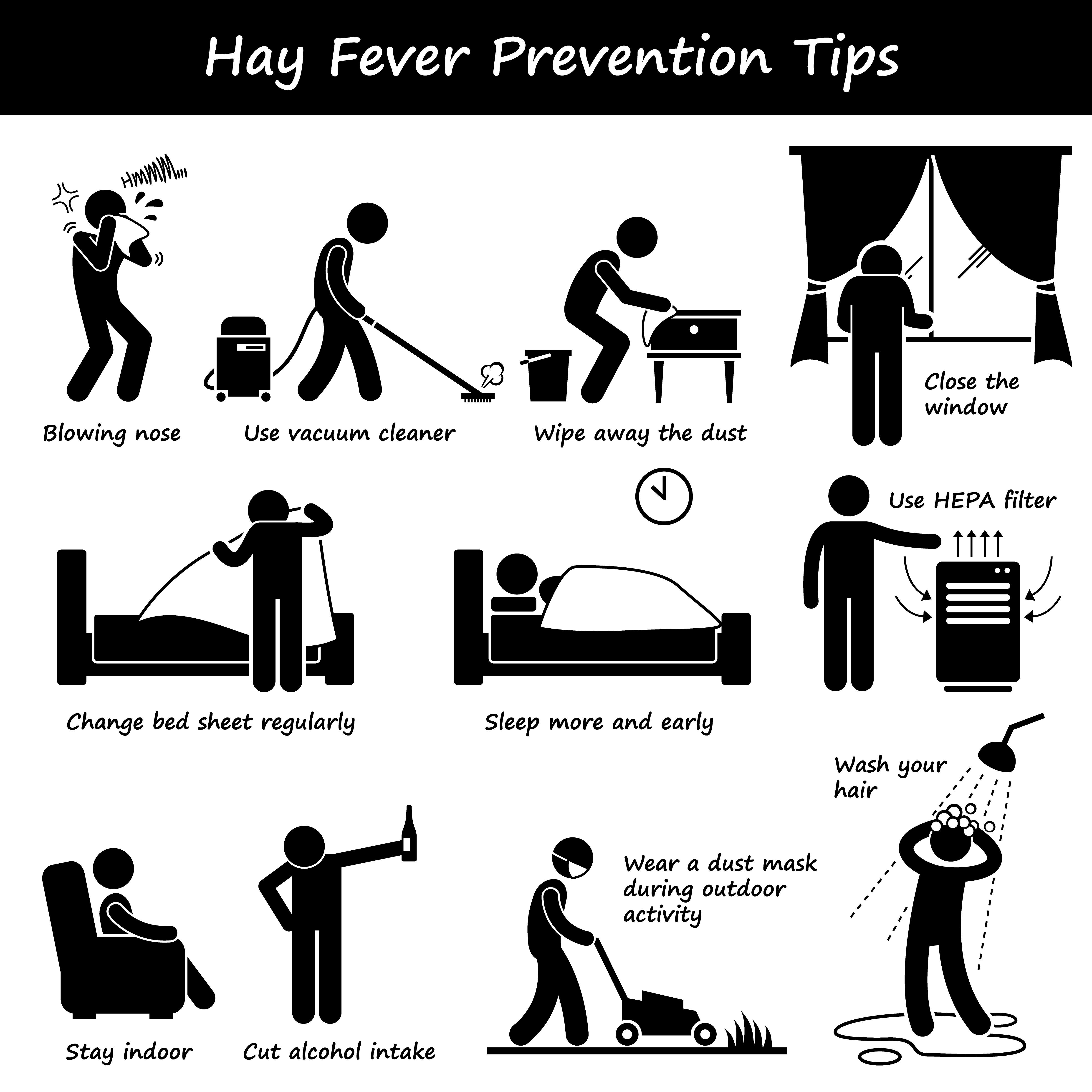 Hay Fever Prevention Allergy Tips Stick Figure Pictogram
