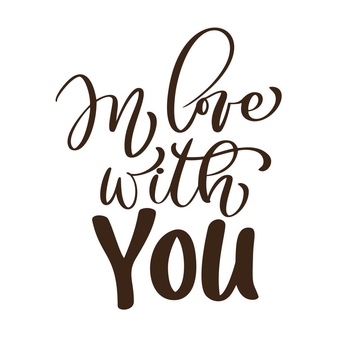 Download in love with you Vector Valentines Day text. Hand drawn ...