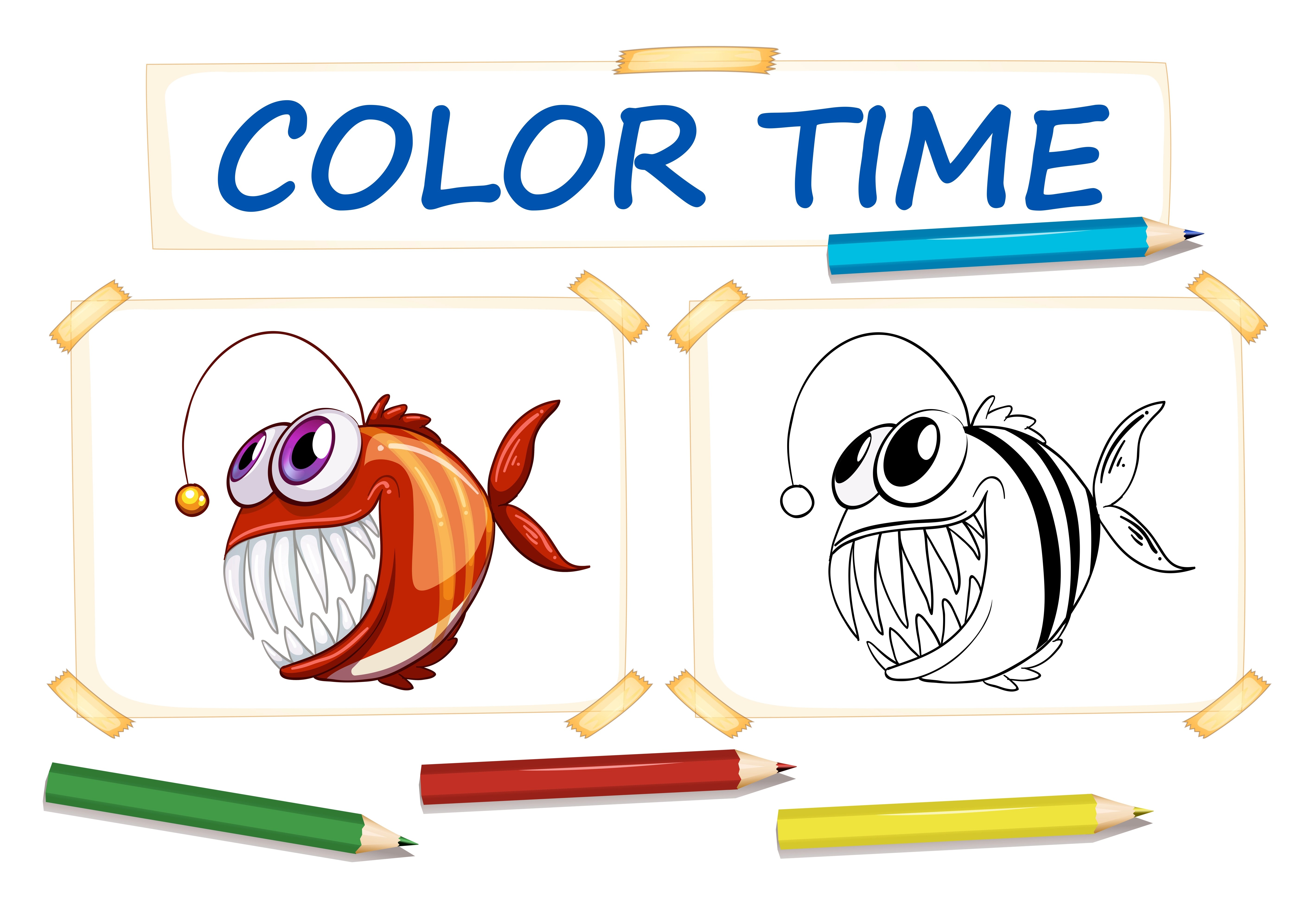 Coloring Template With Ugly Fish