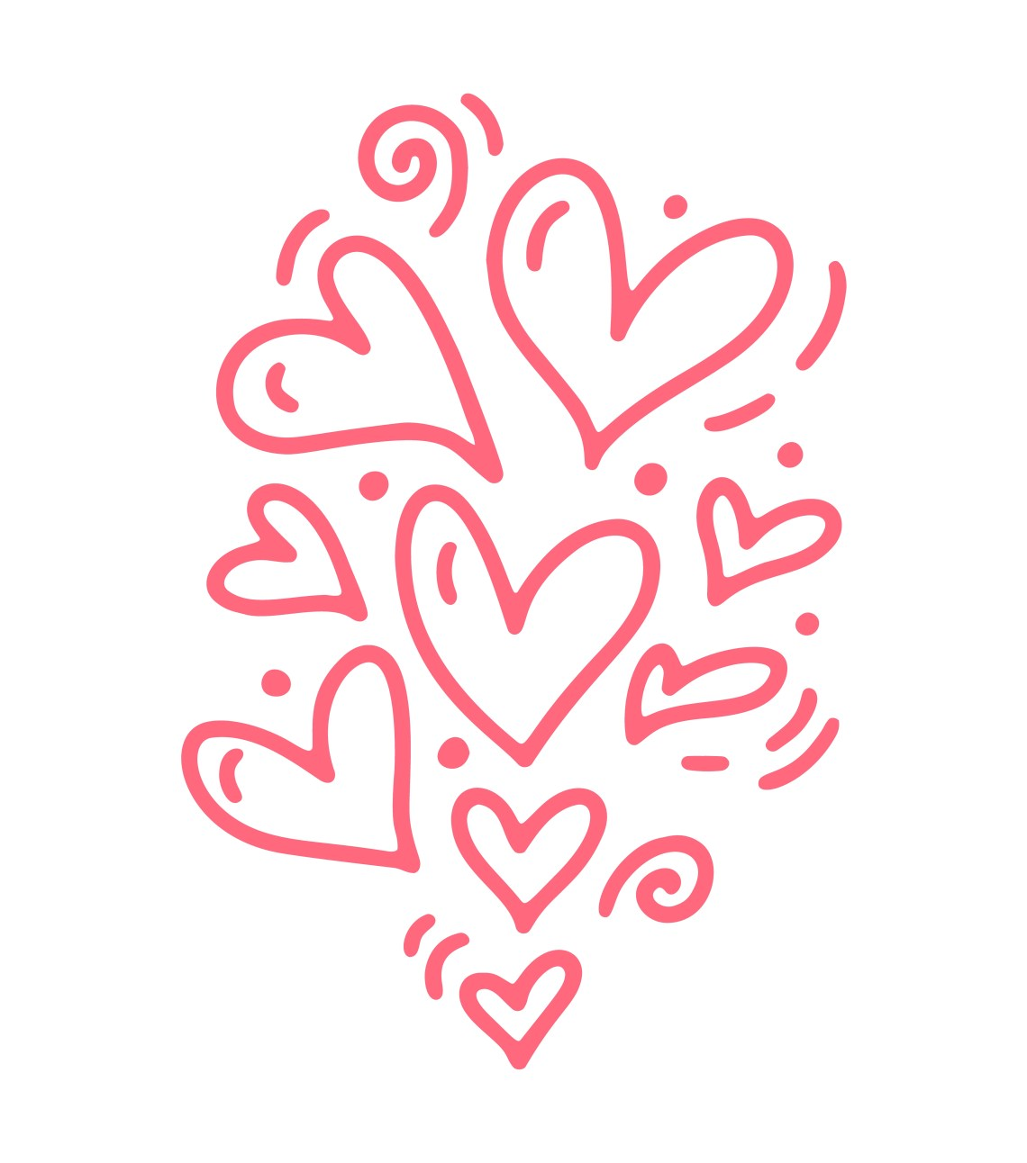 Download Monoline cute pink different size hearts. Vector ...