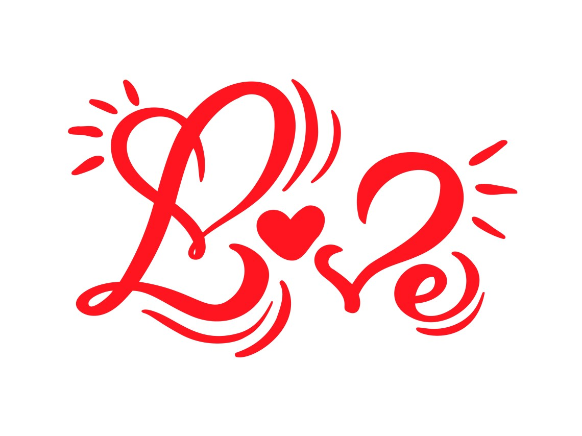 Download Red Calligraphy word Love. Vector Valentines Day Hand ...
