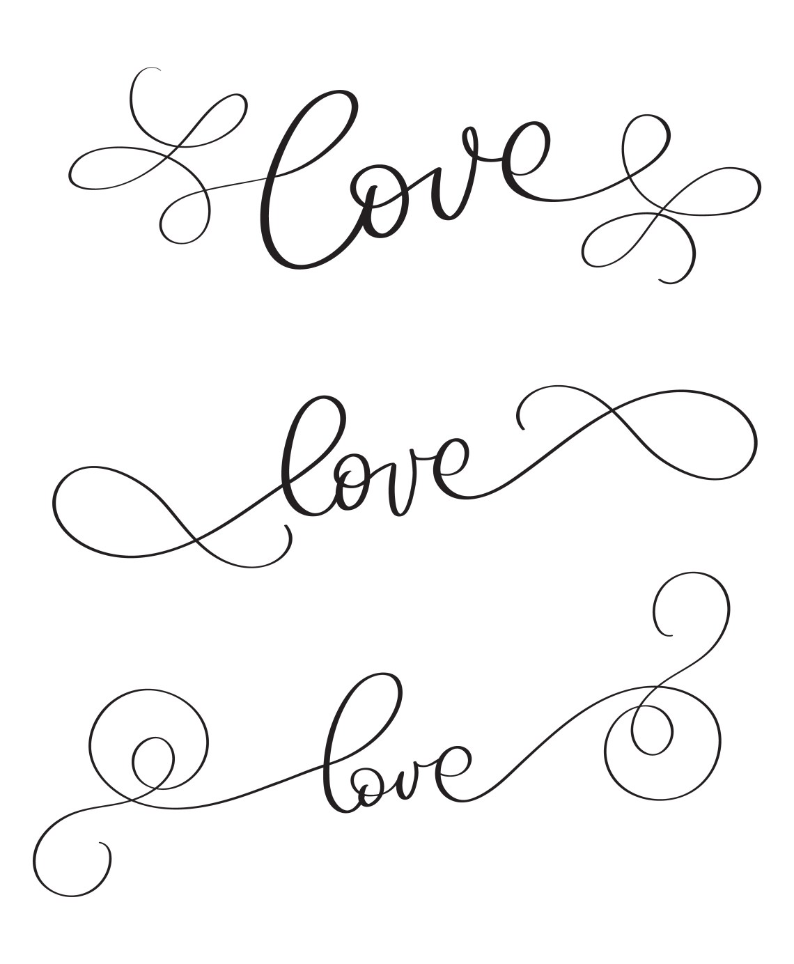Download Set of hand made vector vintage word Love on white ...