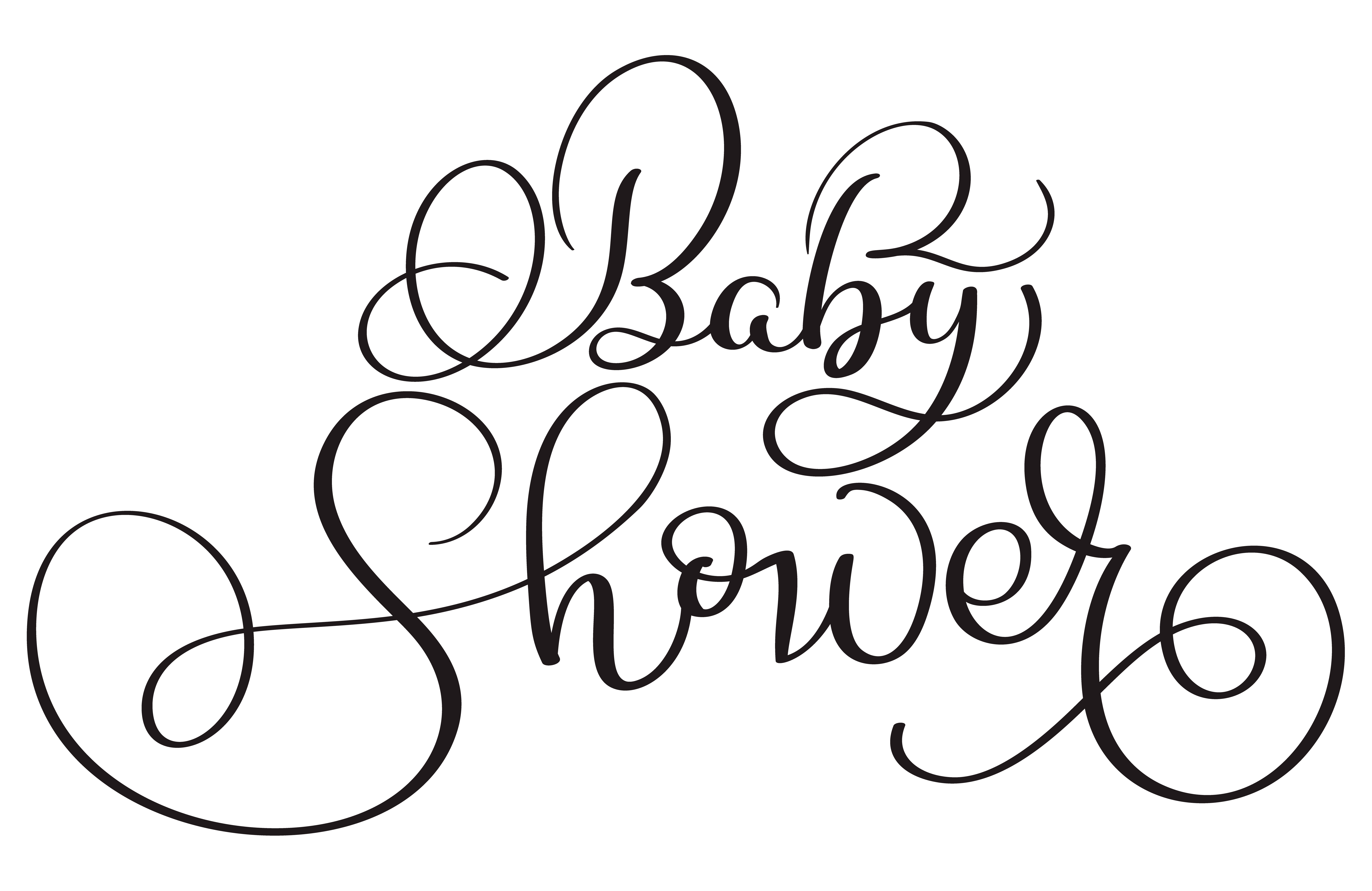 Baby Shower Text On White Background Hand Drawn