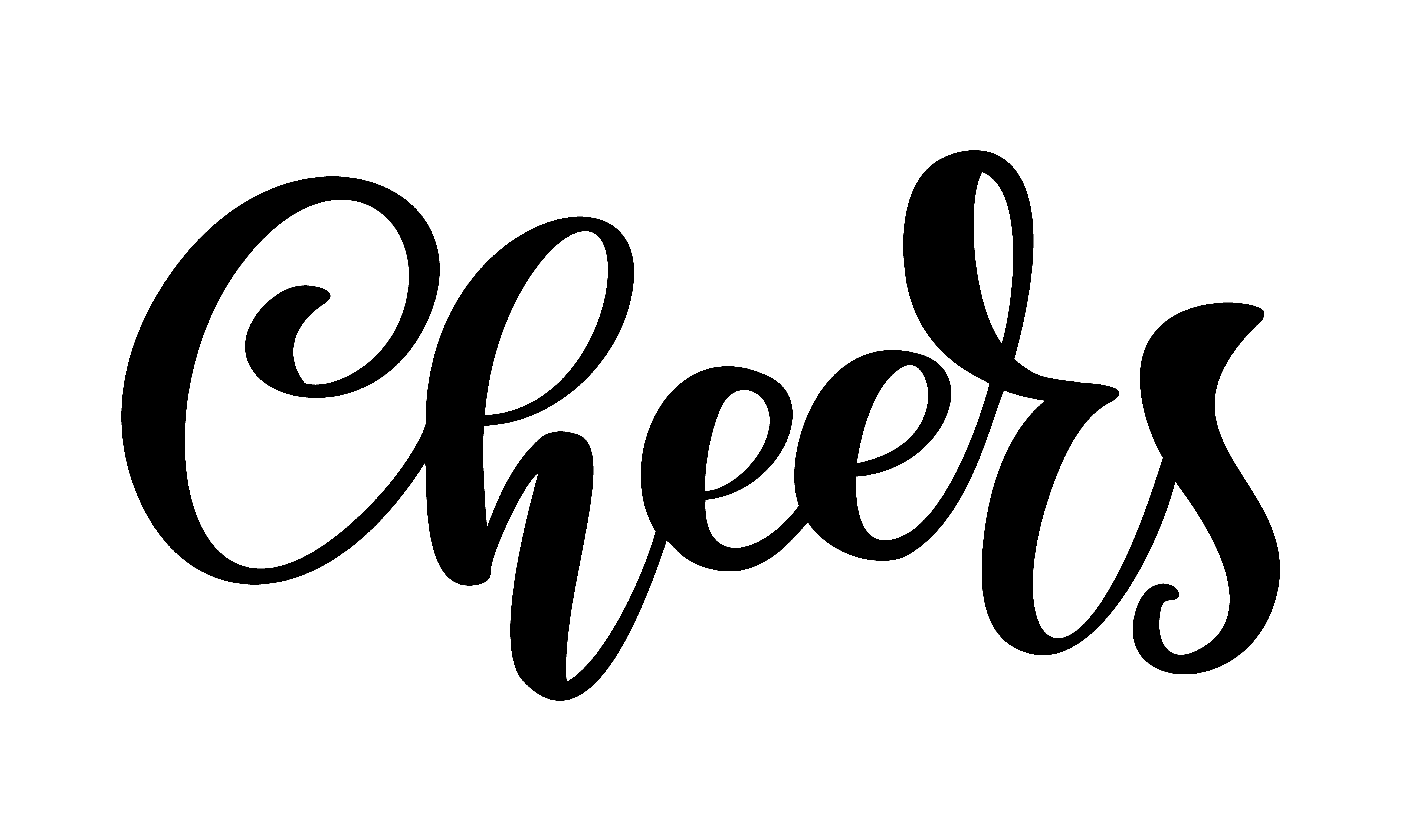 Hand Drawn Text Cheers Lettering Banner Greeting Card