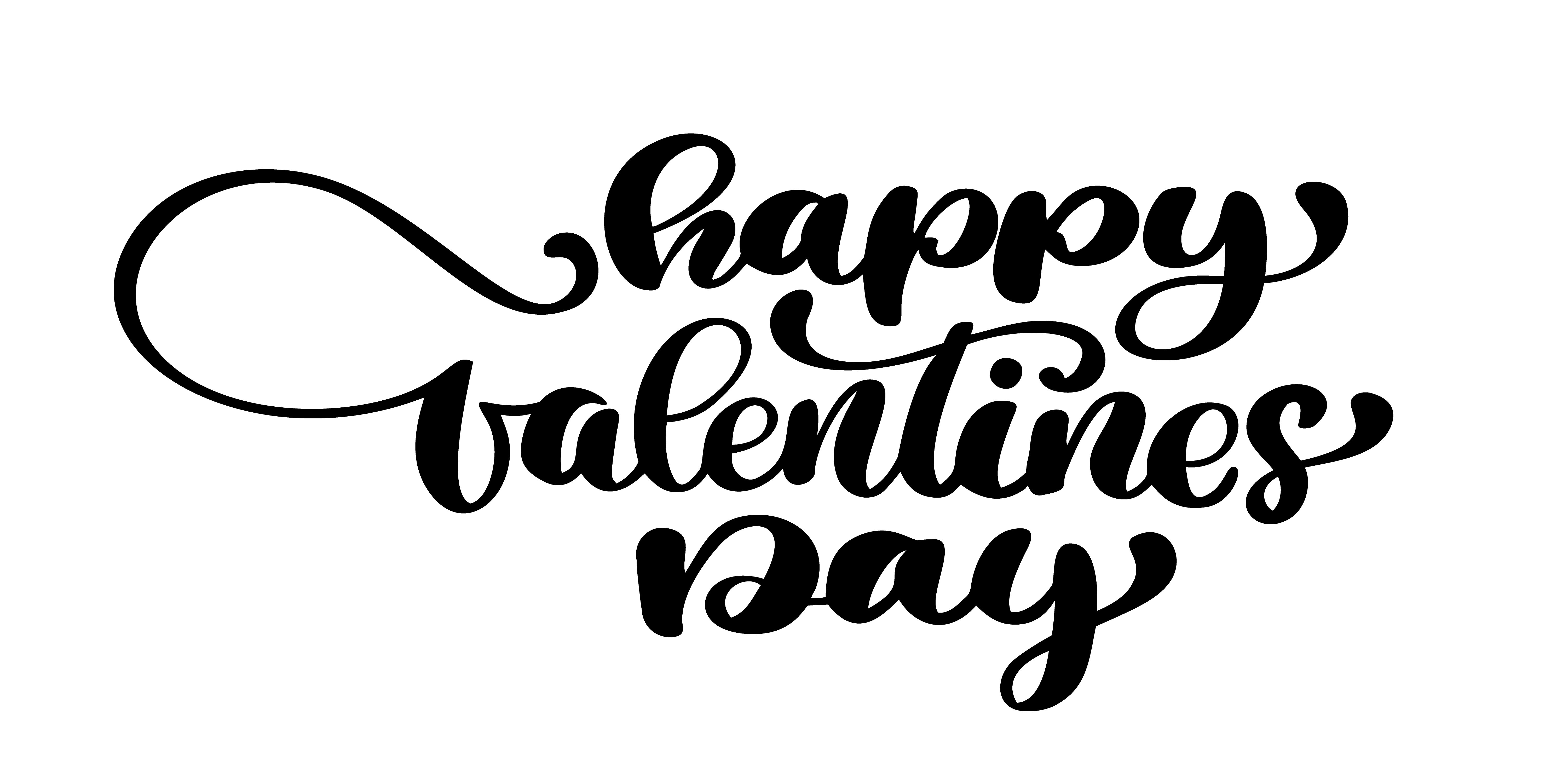 Happy Valentines Day Typography Poster With Handwritten
