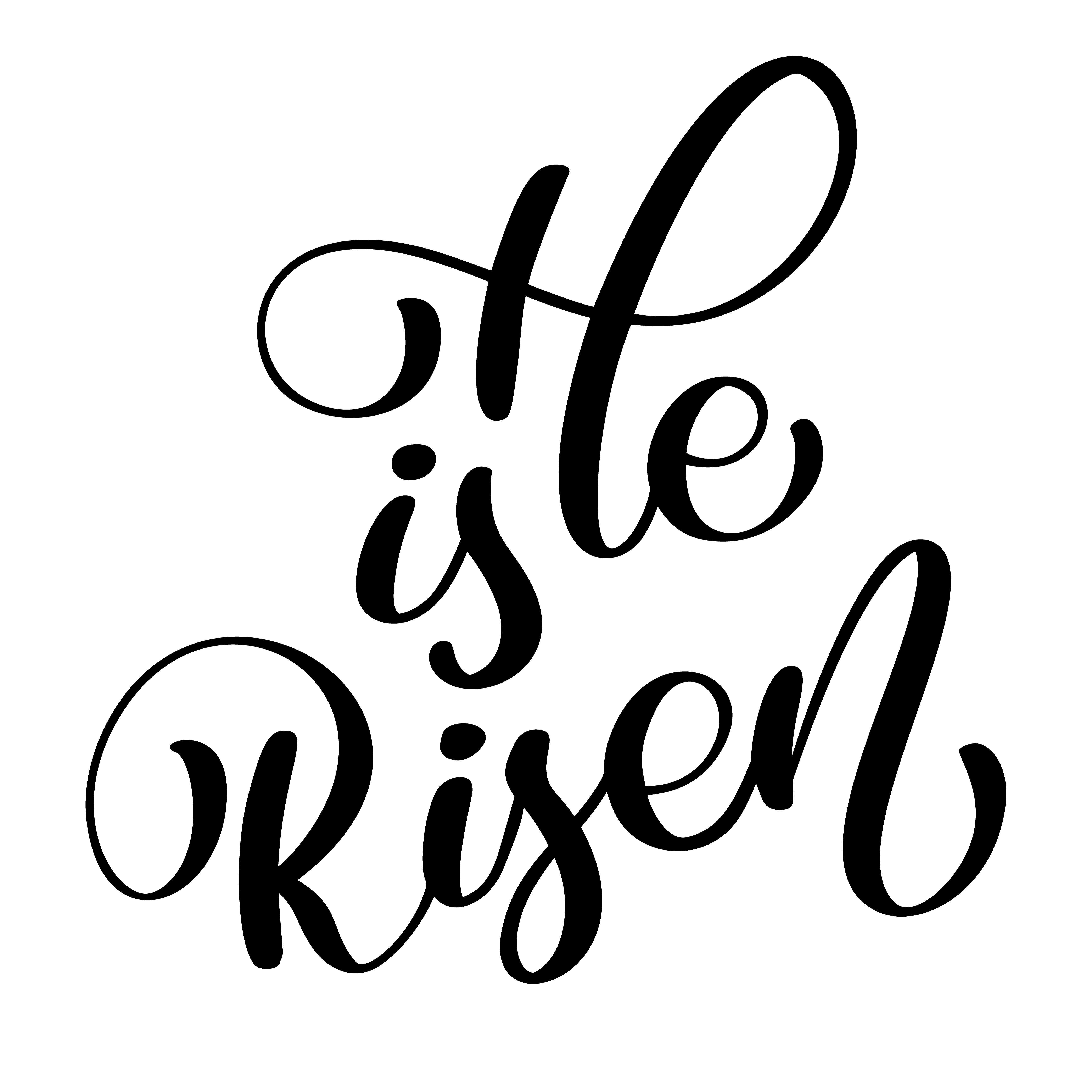 He Is Risen Text On White Background Calligraphy