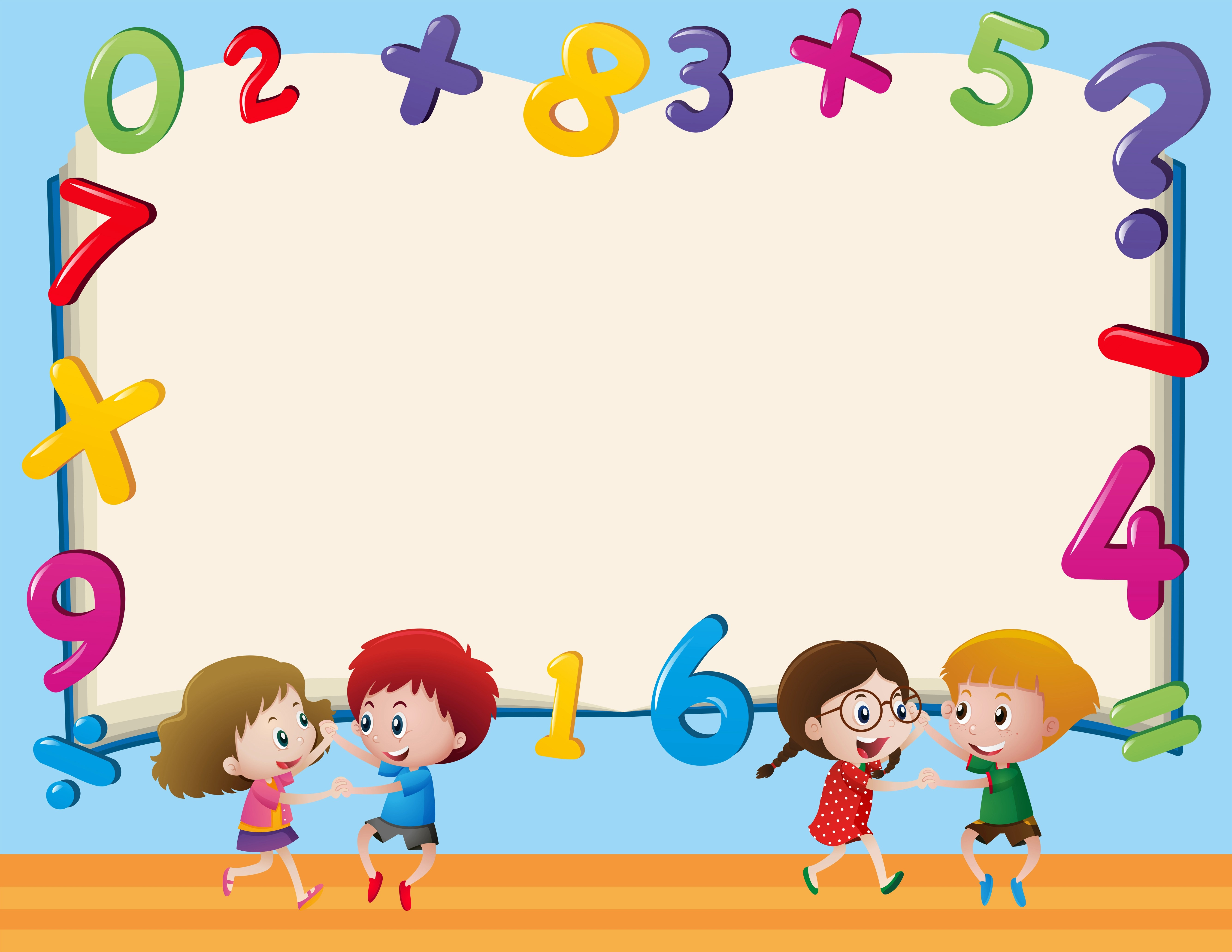 Border Template With Kids And Numbers