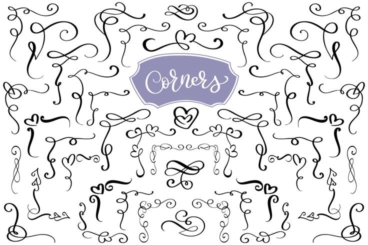 Download Hand drawn swirl and flourish love corners in the shape of ...