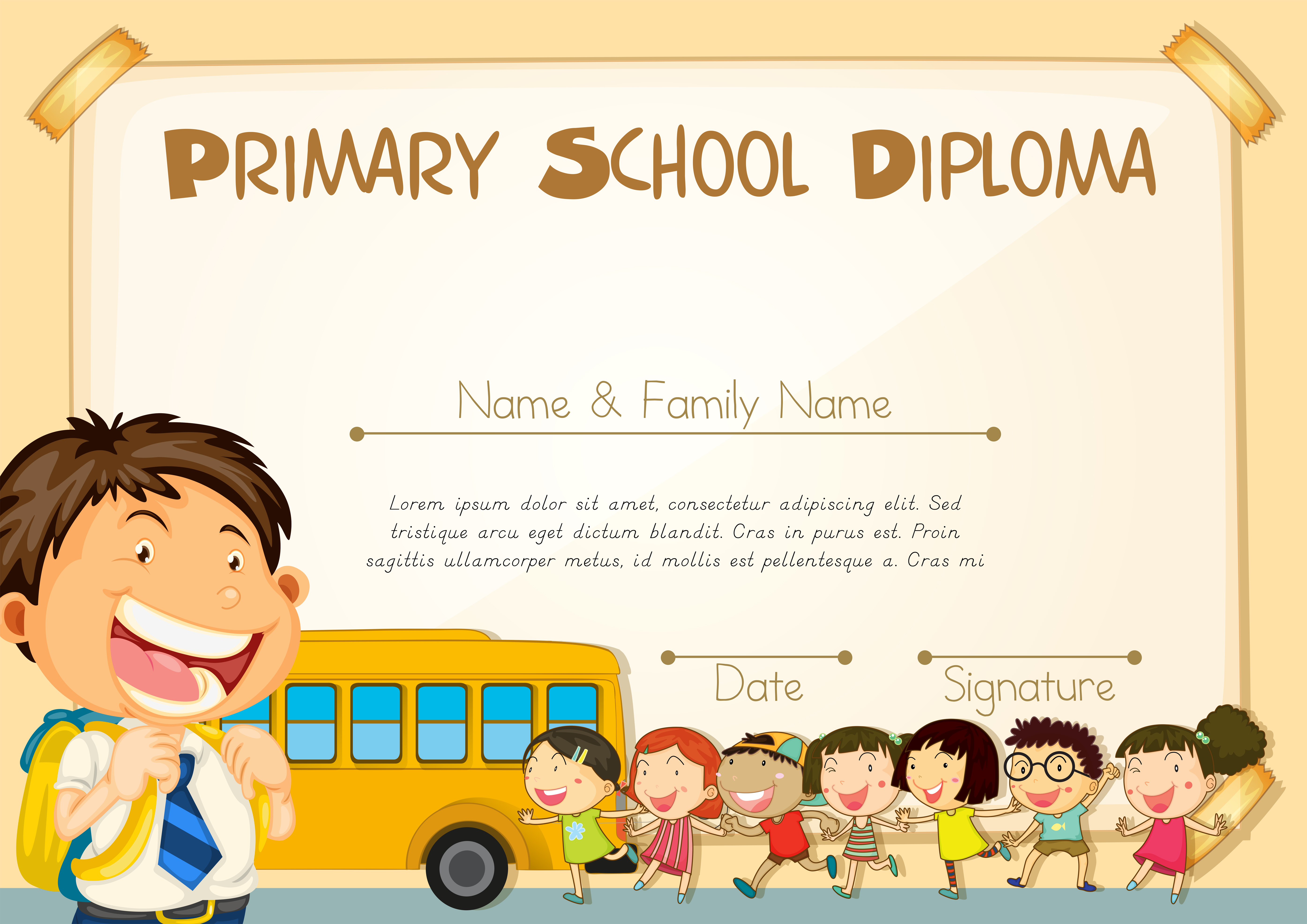 Diploma Template With Children And Schoolbus