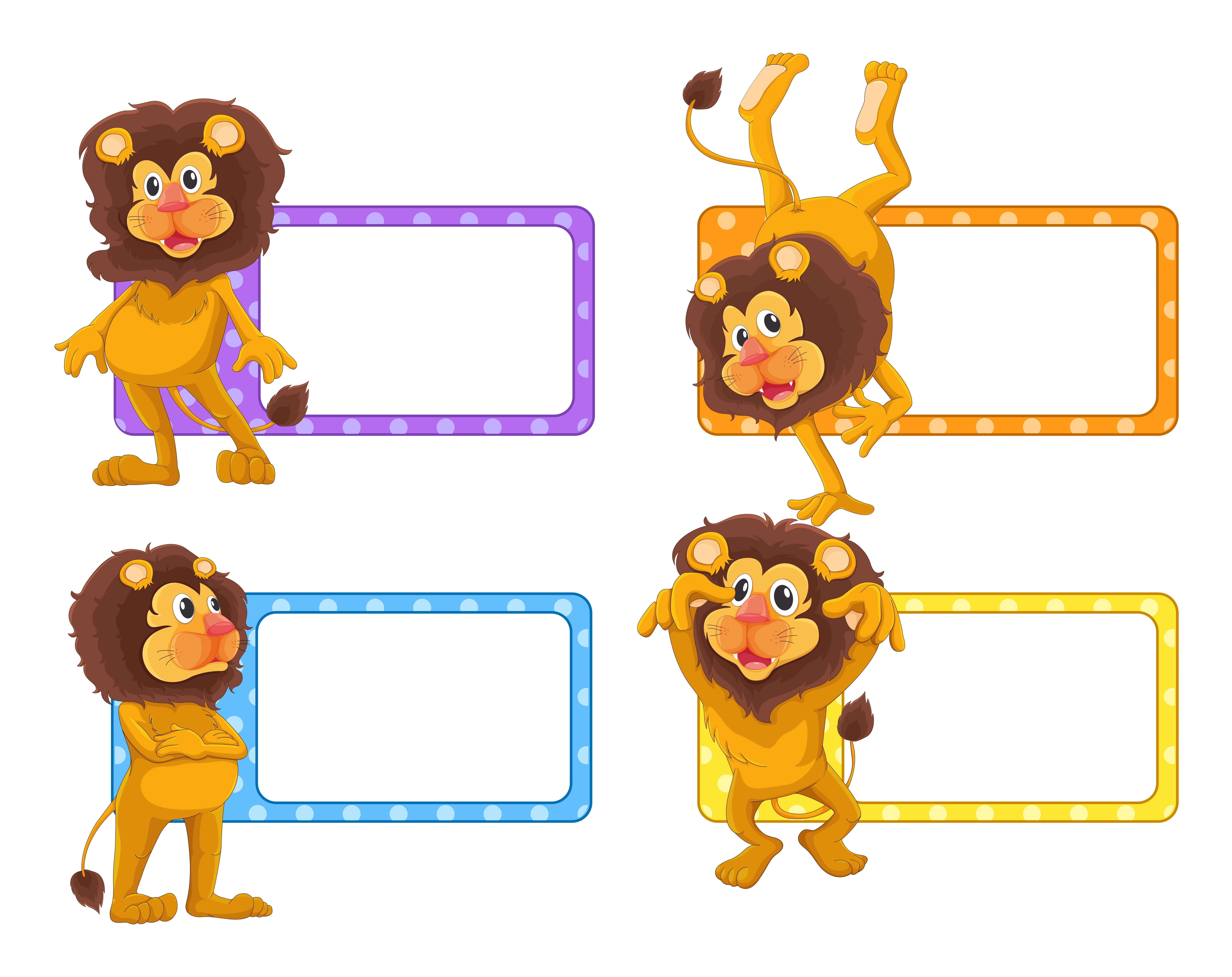 Label Design With Cute Lions