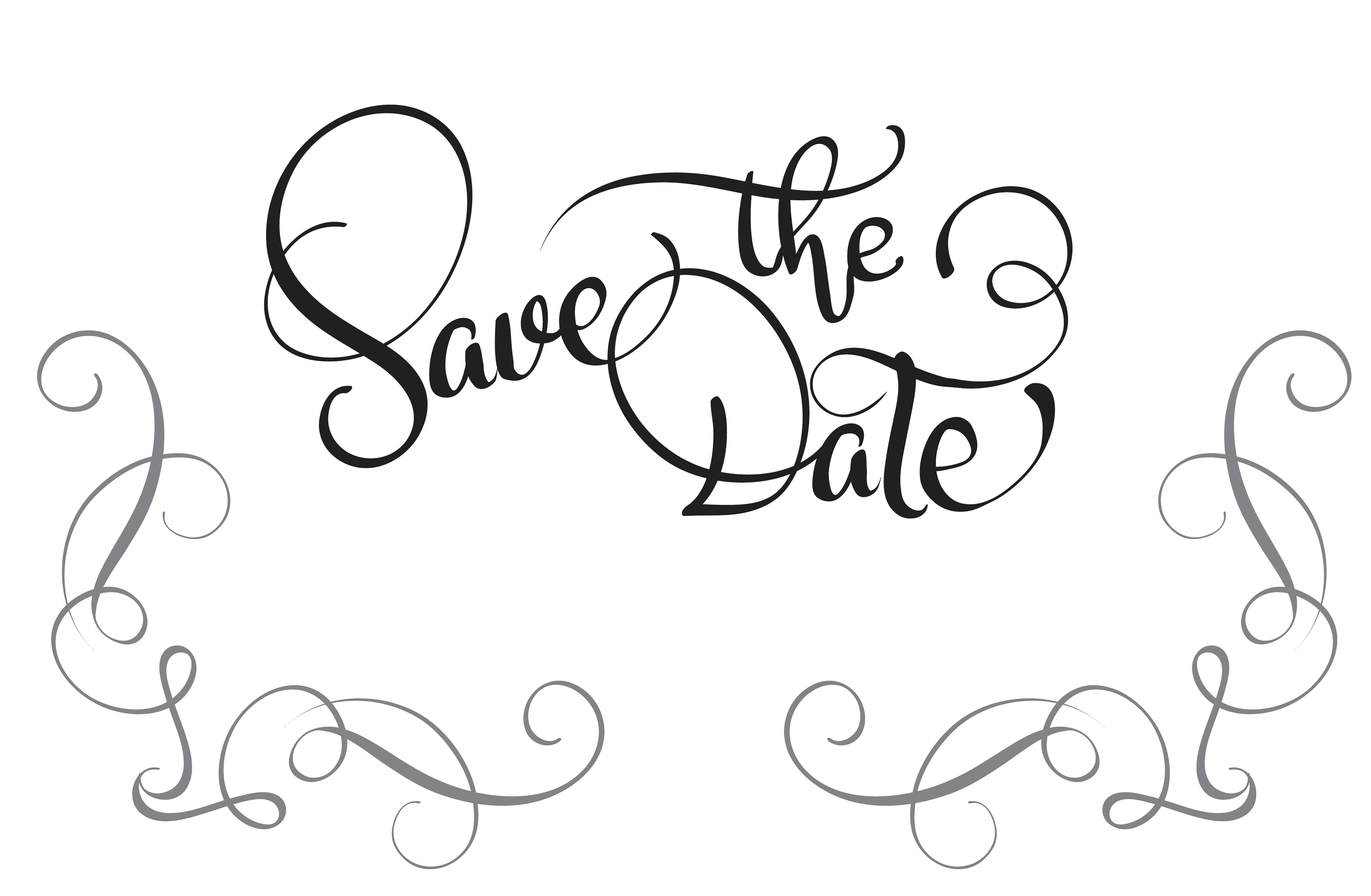 Save The Date Text On White Background Calligraphy
