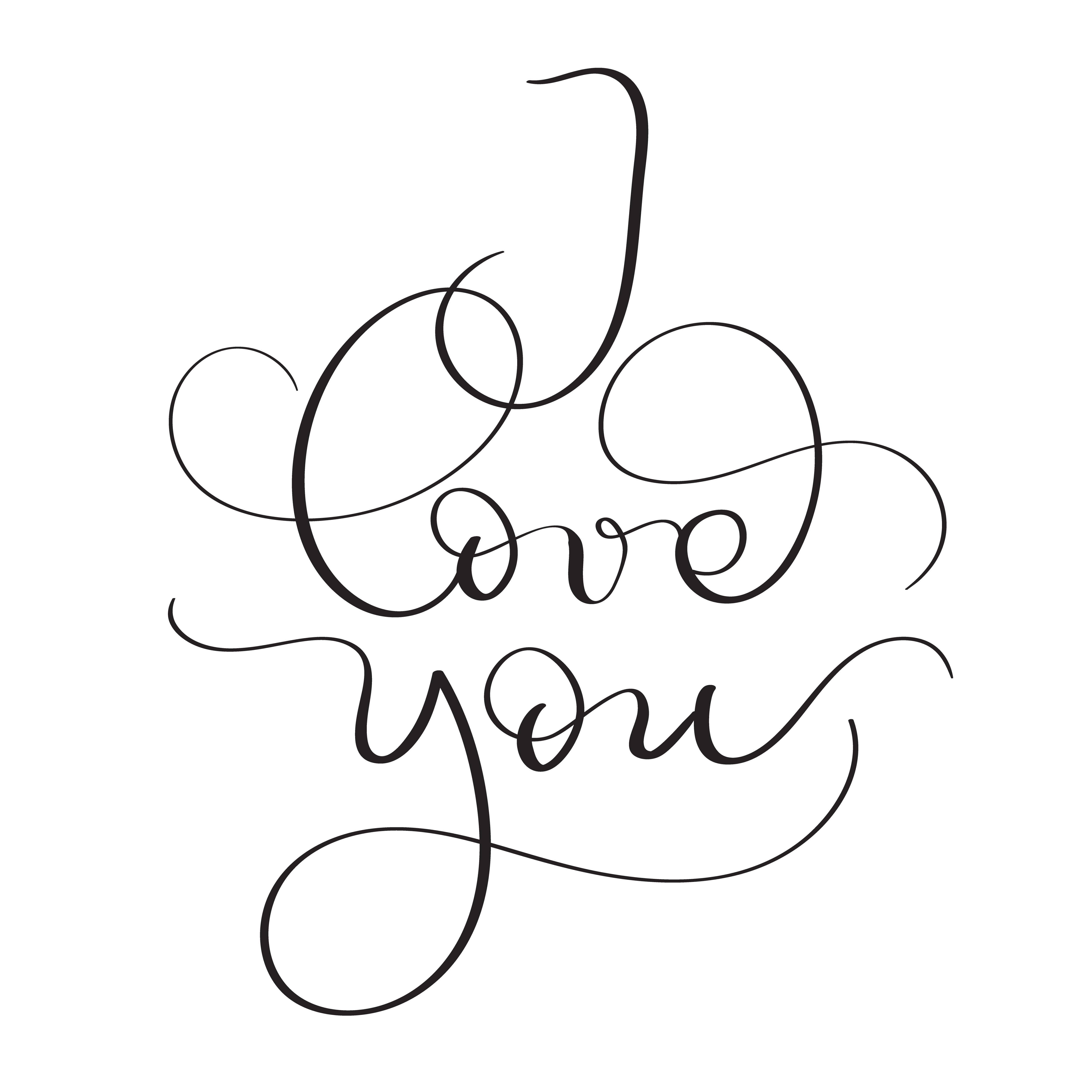 I Love You Text On White Background Hand Drawn Vintage