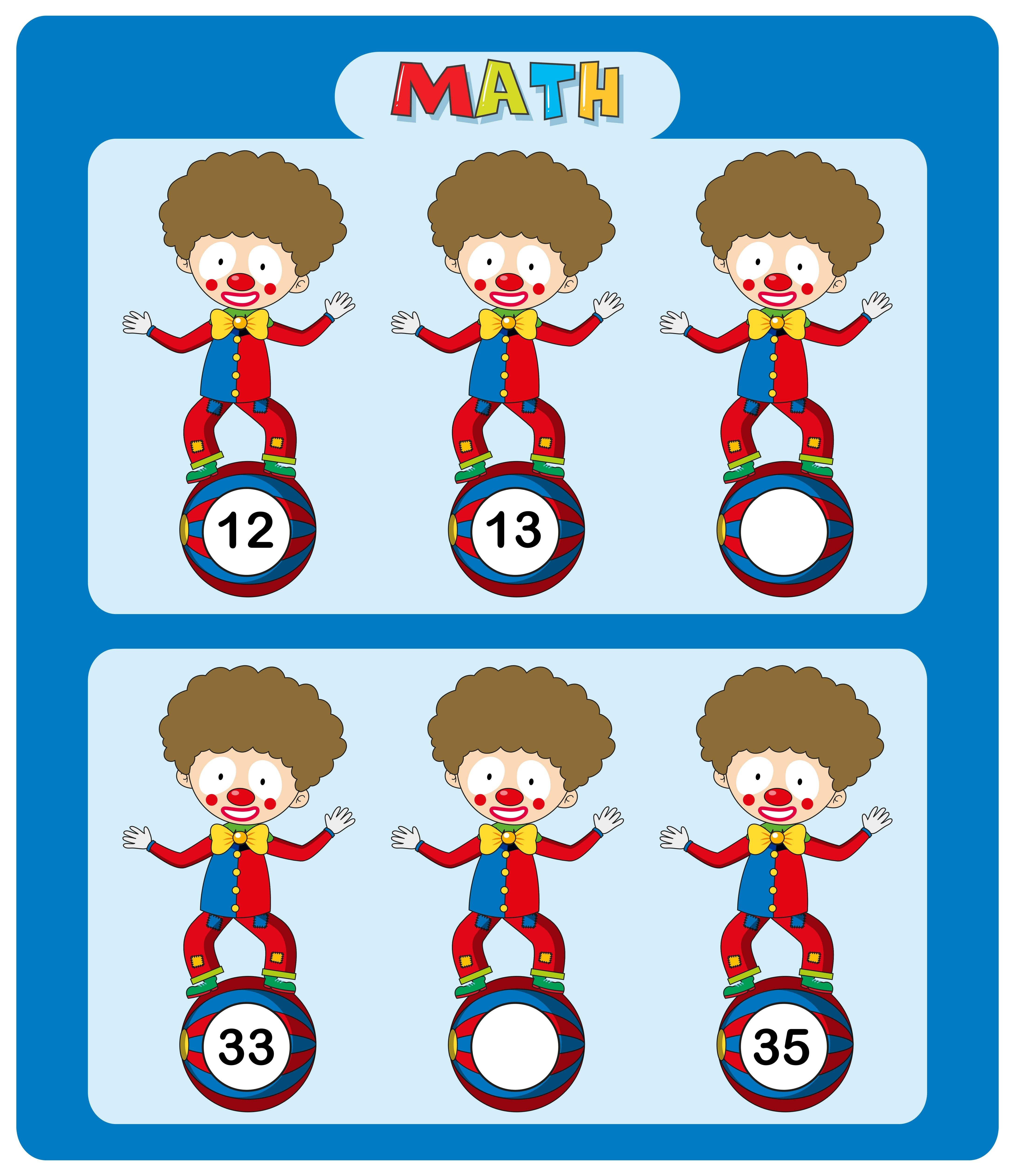 Math Worksheet Template With Circus Clowns