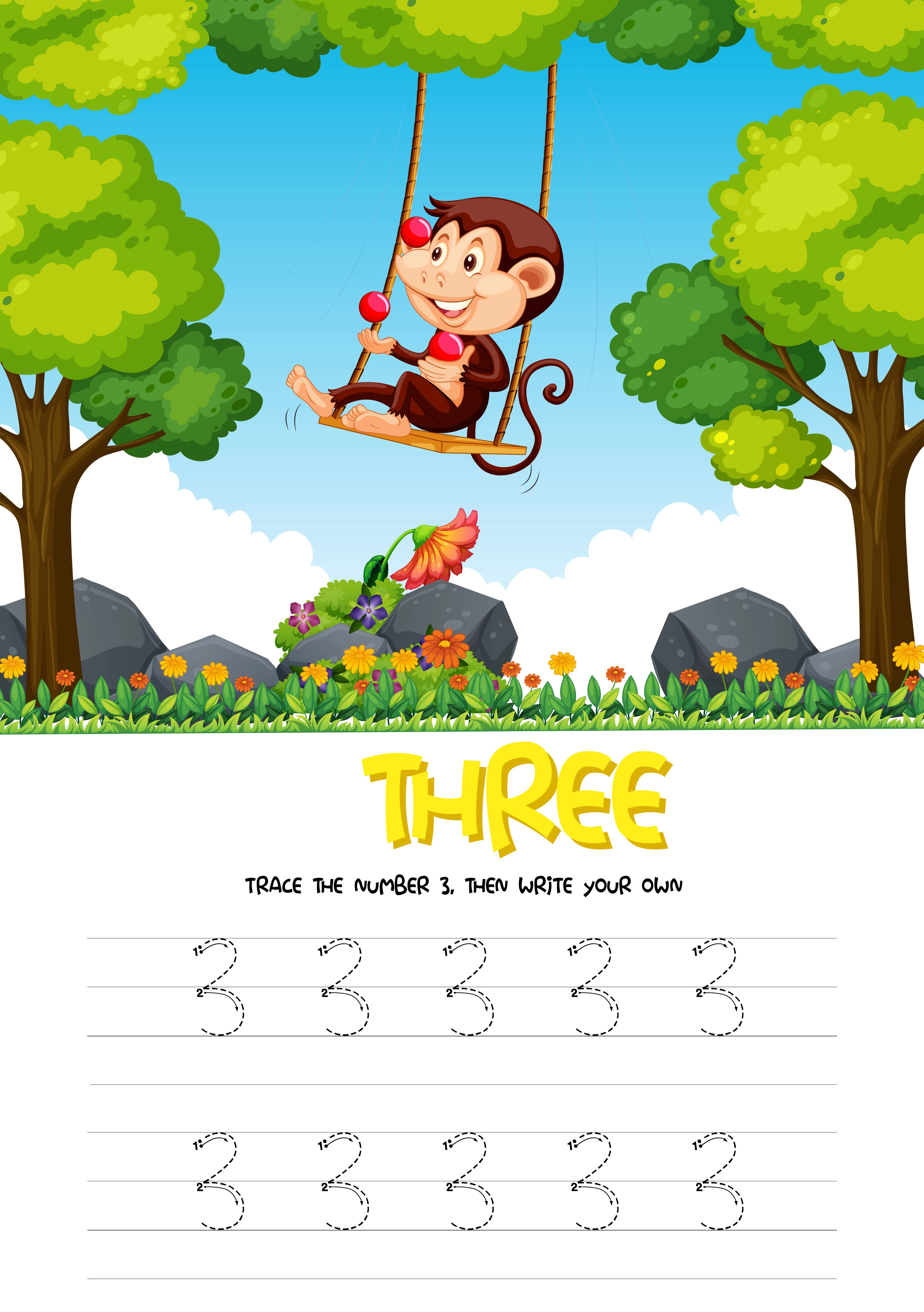 Number Three Tracing Worksheets