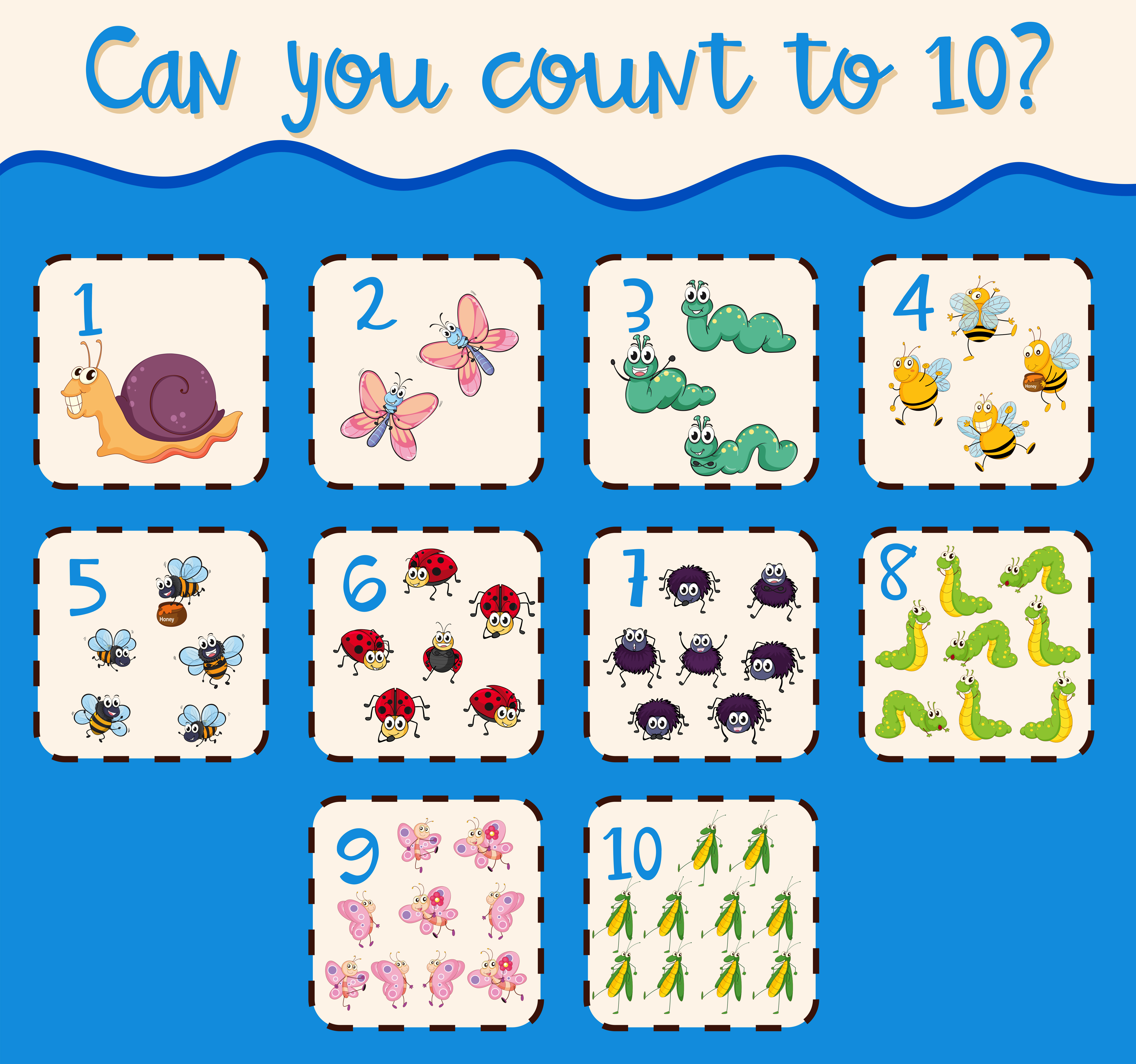 Counting Number One To Ten With Insects