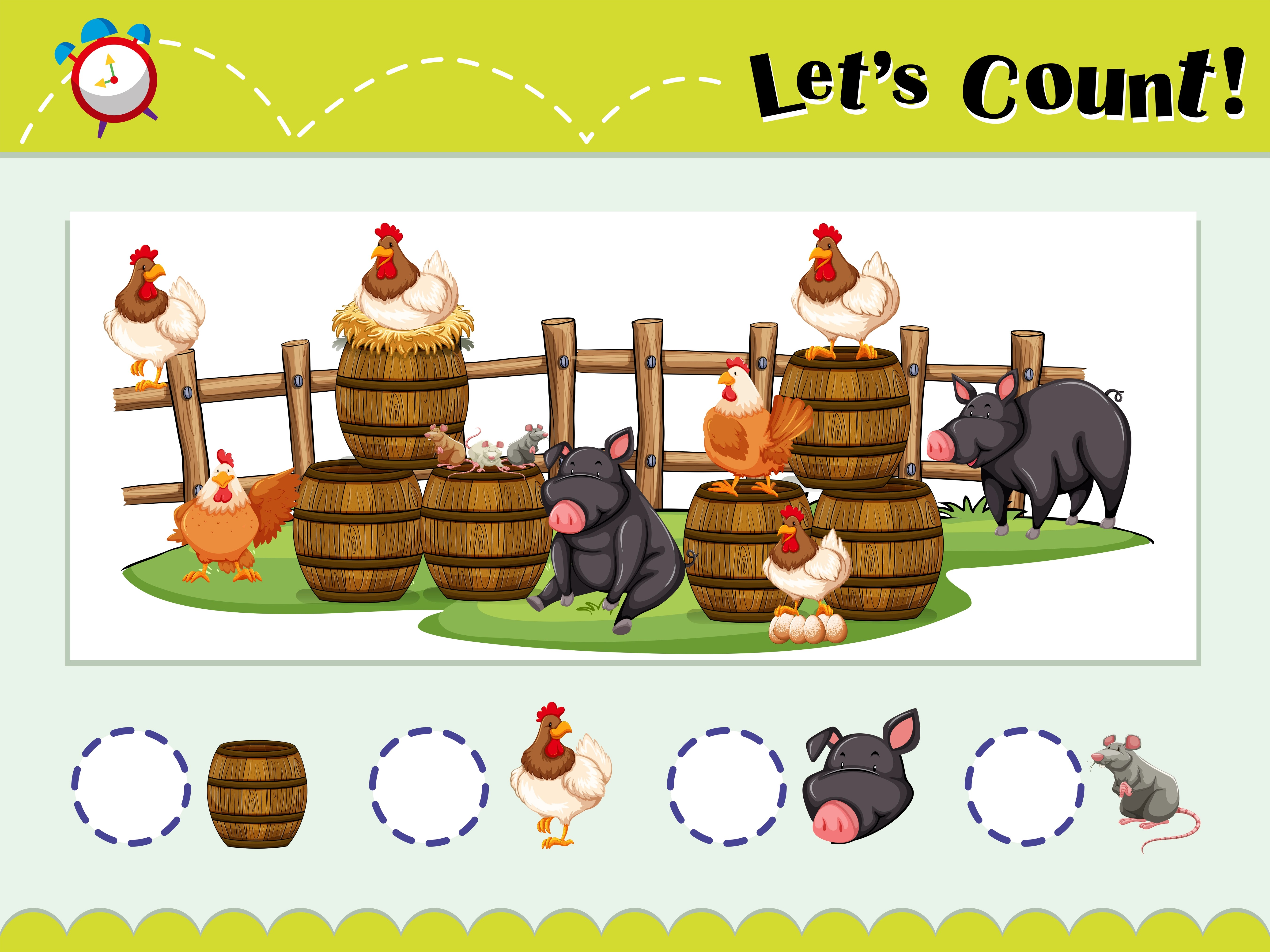 Game Template For Counting Animals